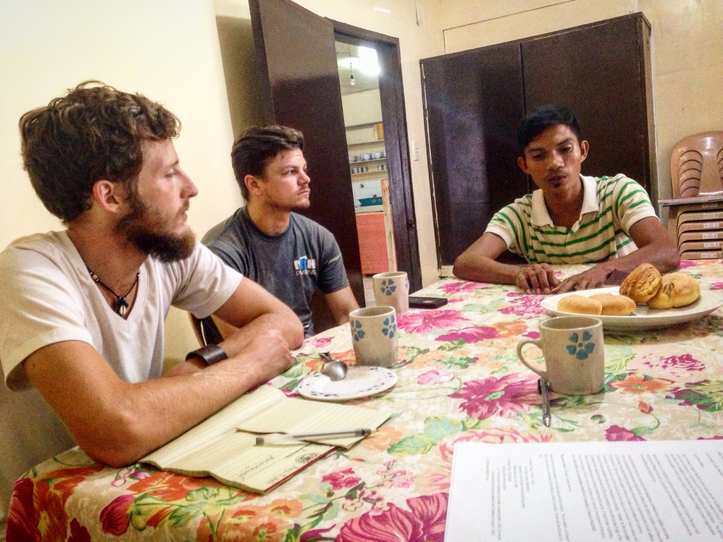 Clark Miller, left, Jason Carpenter, center, and Jovic Roldan discuss the particularities of working with our ministry. He is so glad to be a part!