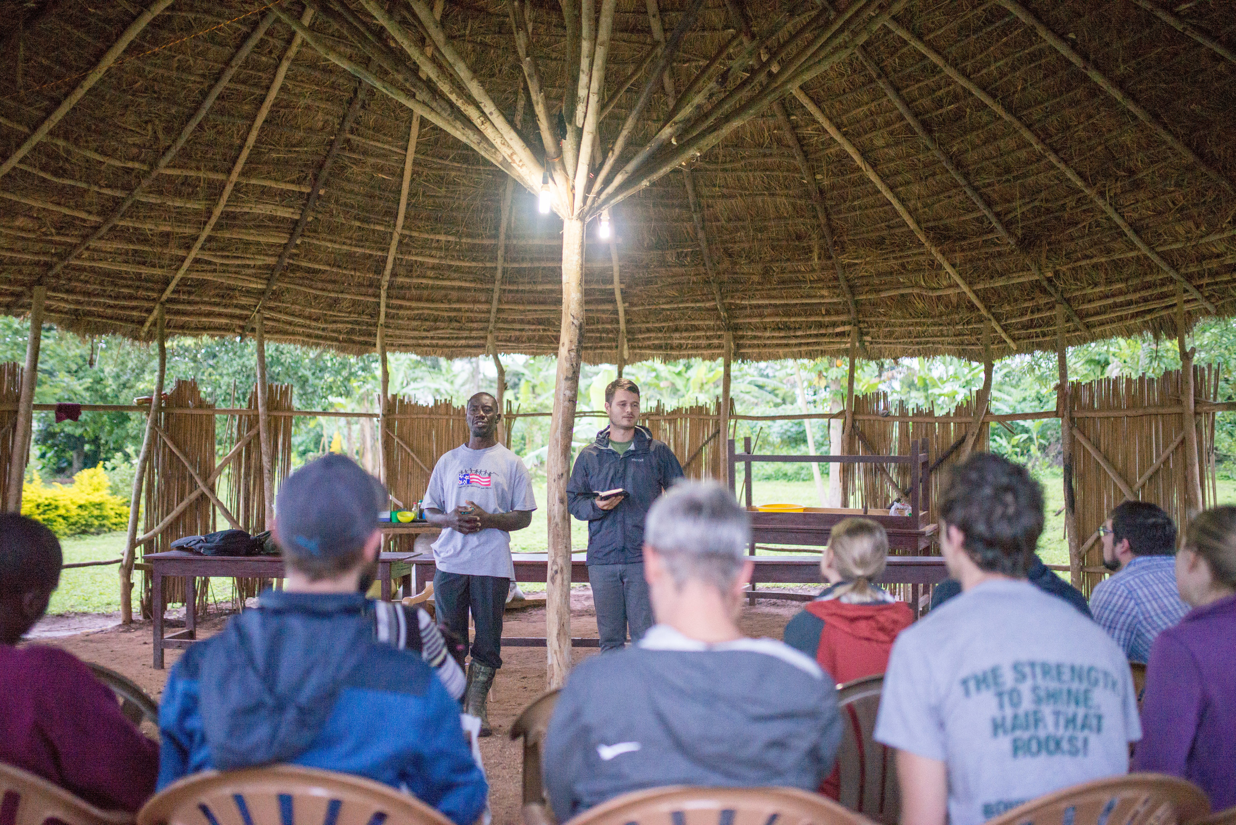 Cameron Kagay, Director of G.O.D. East Africa, shares a parting word with our community in Uganda in our favorite meeting place: the gazebo.