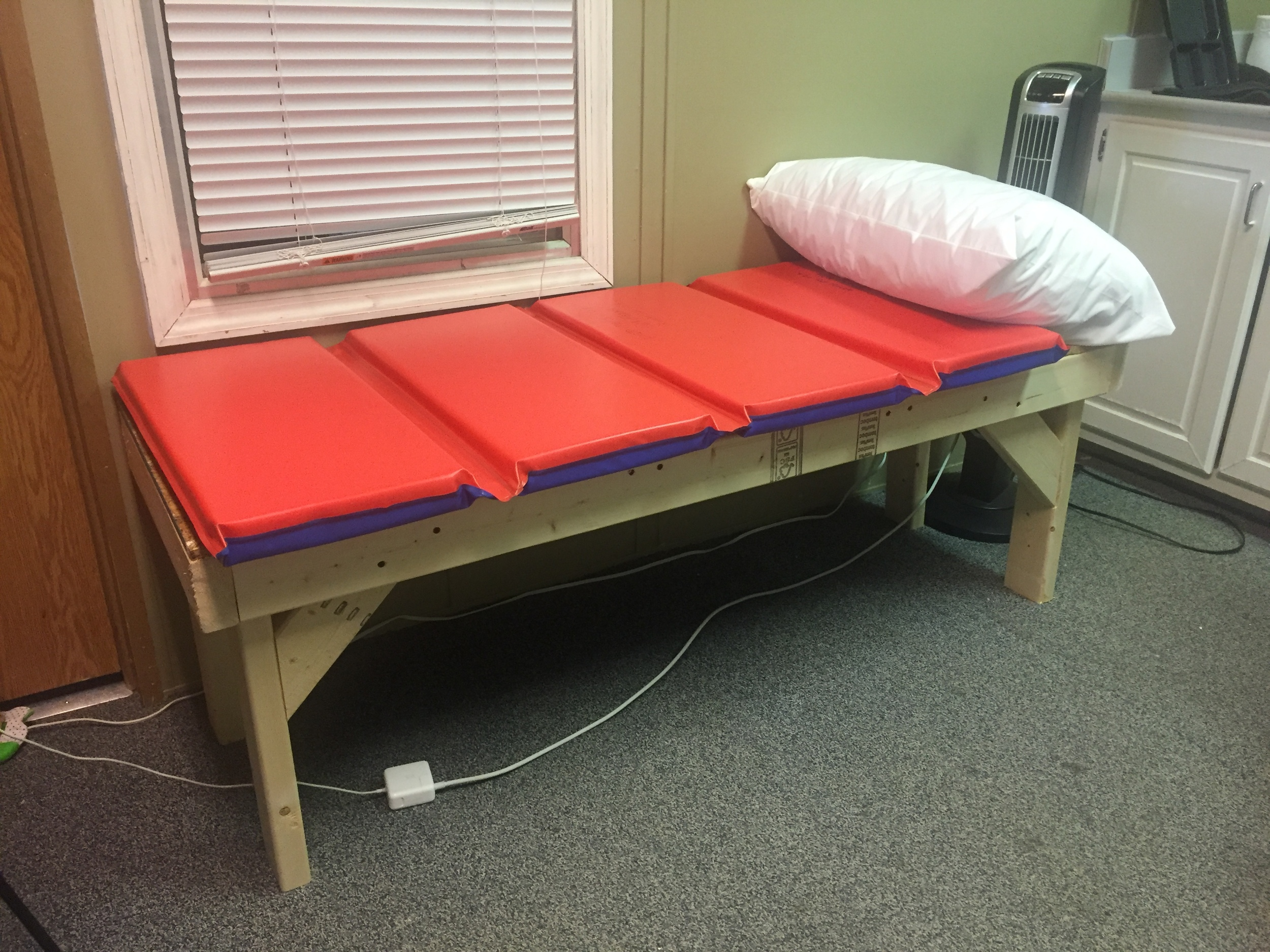 The end product? The first phase of our sturdy cot ready to assist in conquering all future tummy aches and pains!