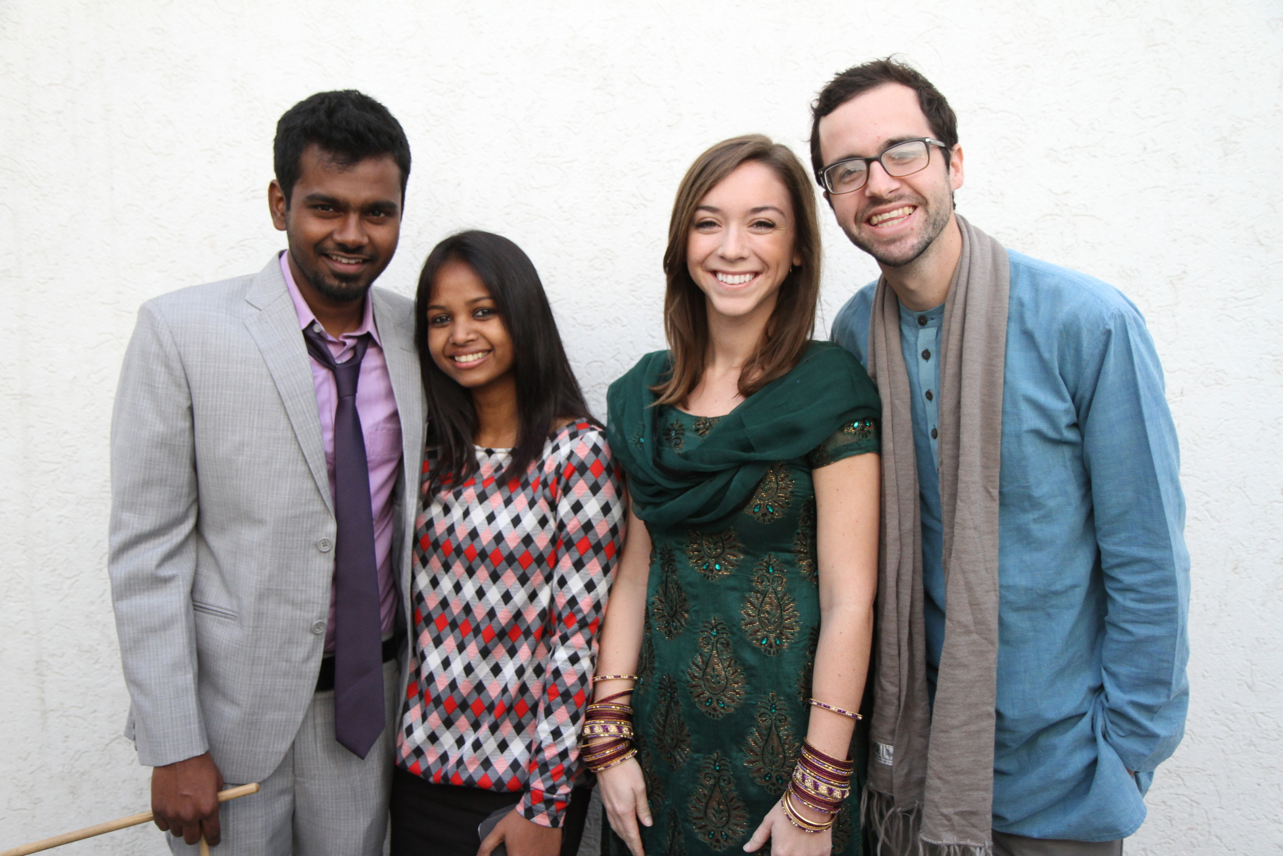 Manohar and Sneha Purti Paul with Nick Sherrod and Leah Sherrod, December 2012. Though he just began formally working with our organization this month, Manohar has offered his help and friendship to our organization for years.