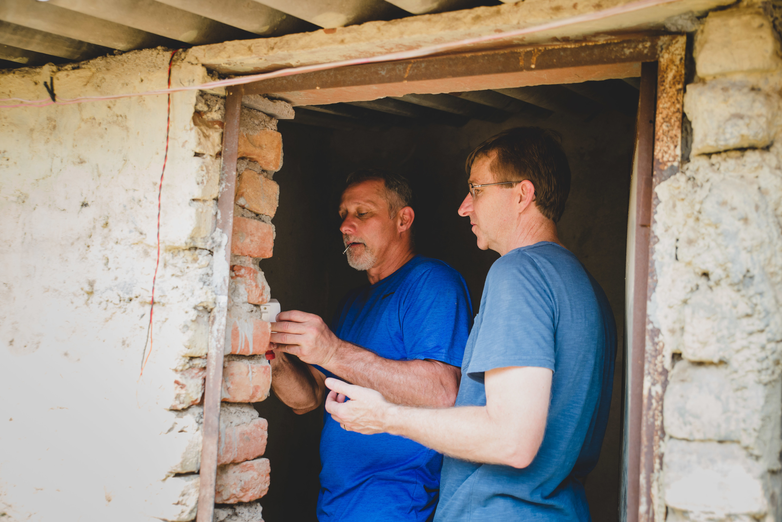 Kevin Maute and Greg Jobe, both fathers to G.O.D. India team members,installed lighting for bathrooms at the local K-10 school. Though a seemingly small addition, inadequate and unsafe restrooms are a leading cause of girls dropping out of school worldwide. It is these small, humanizing actions that produce safer environments and ultimately, ensure better learning.
