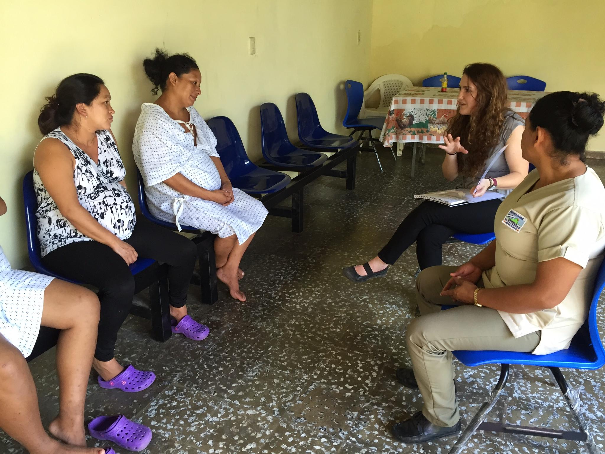 Brittany Girton teaches a reproductive health seminar in rural El Salvador with no translator.