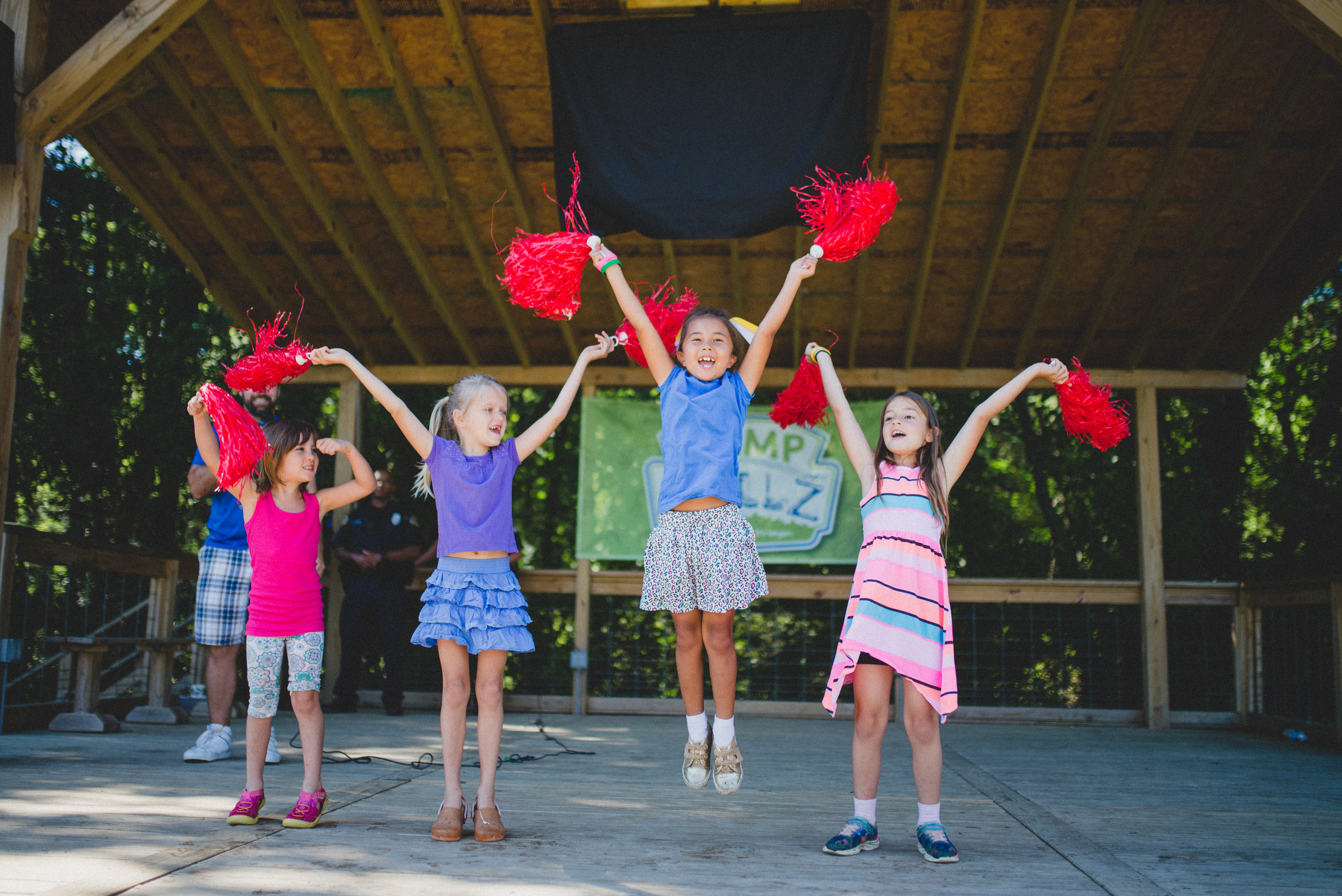 You can't see it, but these girls just performed their own cheer in front of the entire camp. The best part is that the girls are 8-9 years old! Camp Skillz encourages campers to perform live dance and drama because we must all know how to express ourselves before our peers without crumbling in fear of judgment.
