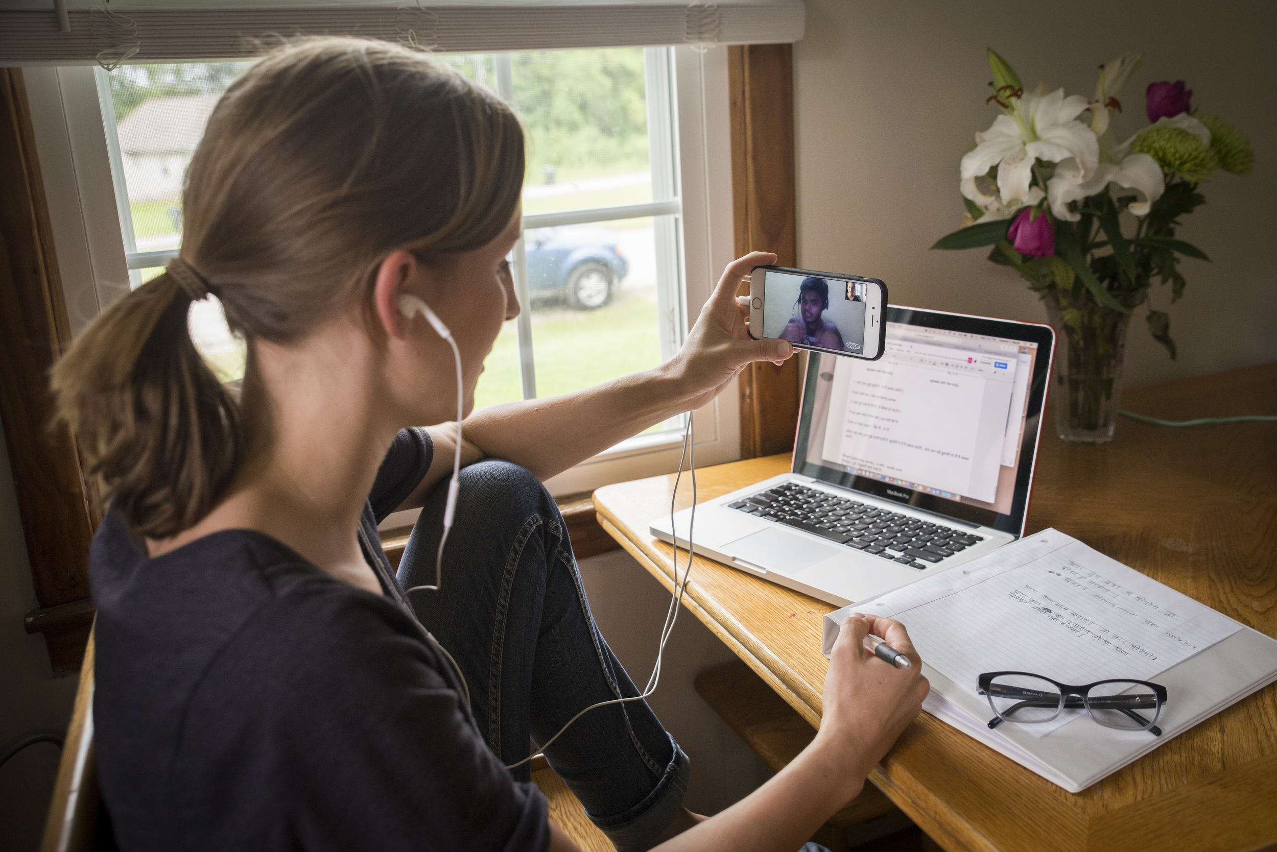 Heather Maute, Nashville,takes interactive Hindi lessons with professional tutor Anil Mahato, in Delhi, India, through Skype. Their focus is on conversational Hindi and lessons are customized based on each student.