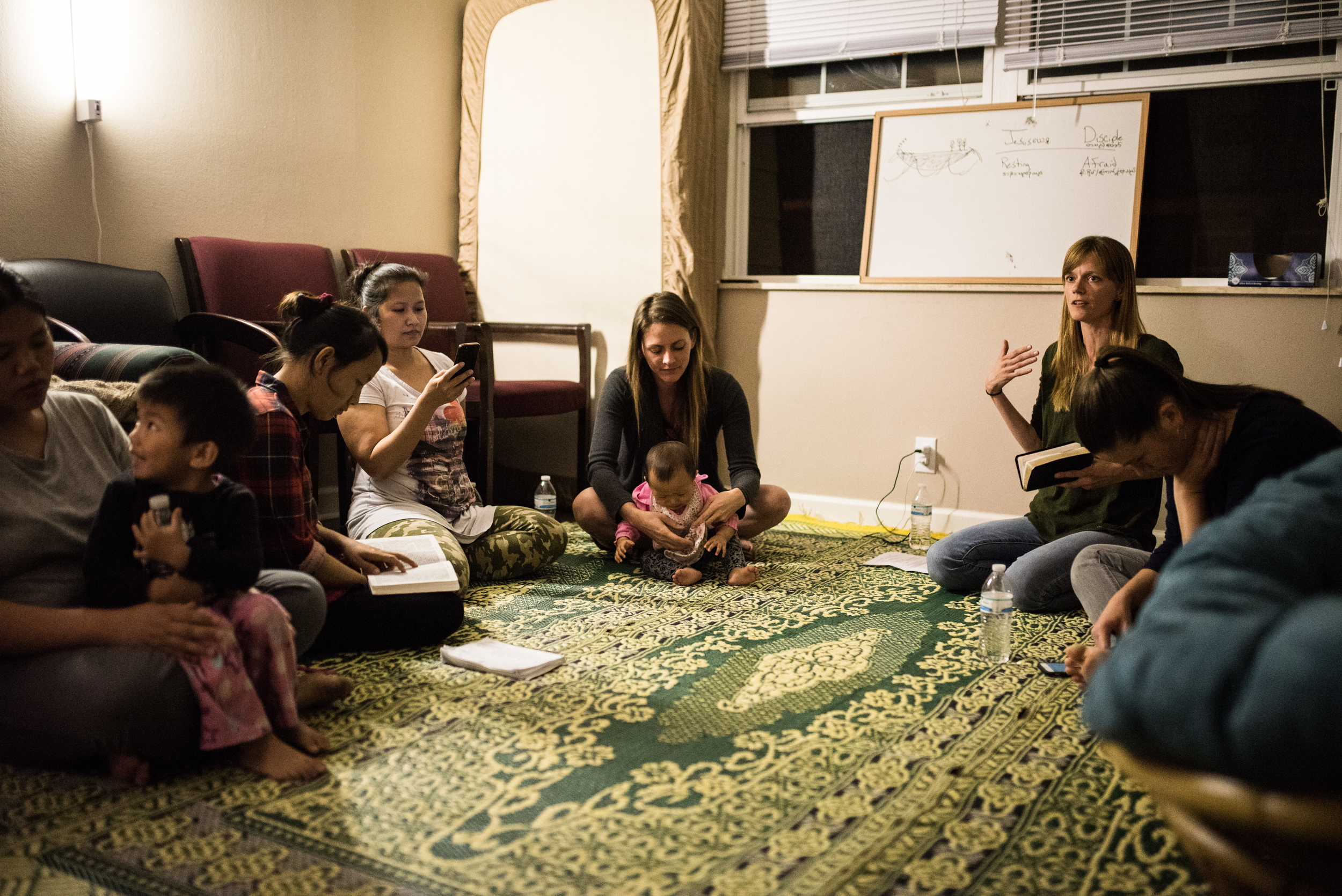 Grace Aaseby teaches a Bible Study to a group of Burmese refugee women who live in a small community outside of Nashville.