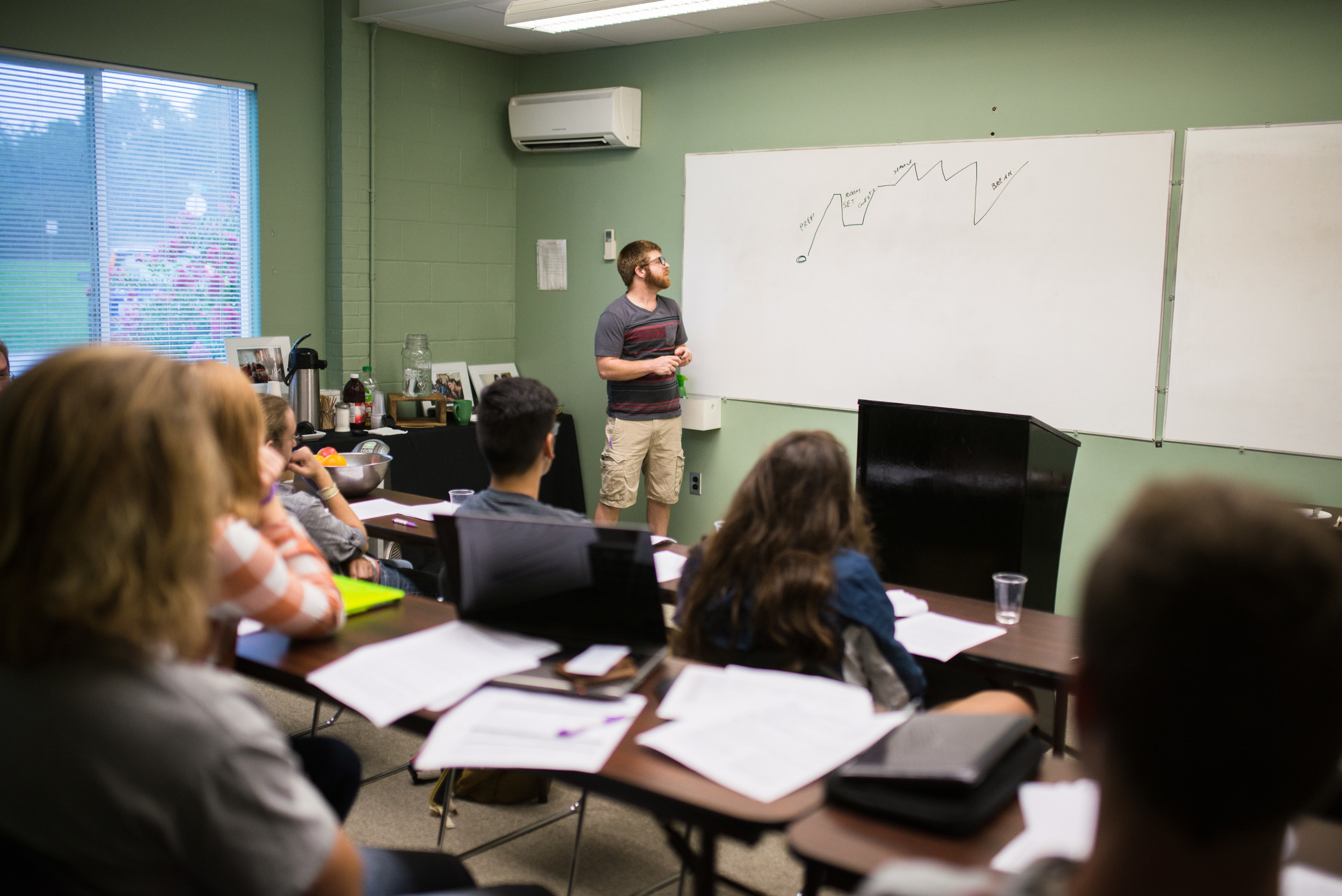 Mitch Buchanan conducts job training for new students at the Institute.