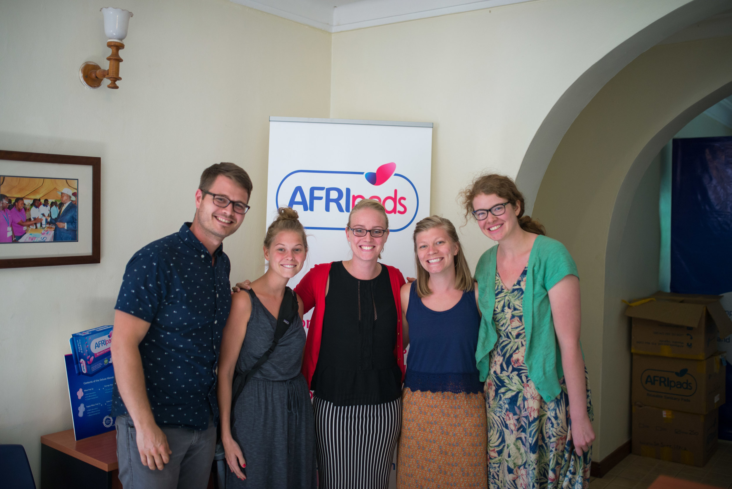 Cameron Kagay, lead manager of the East Africa regional team, along with immersion participants interested in textiles and health care, visited the AFRIpads headquarters and sat with leaders of their nonprofit.
