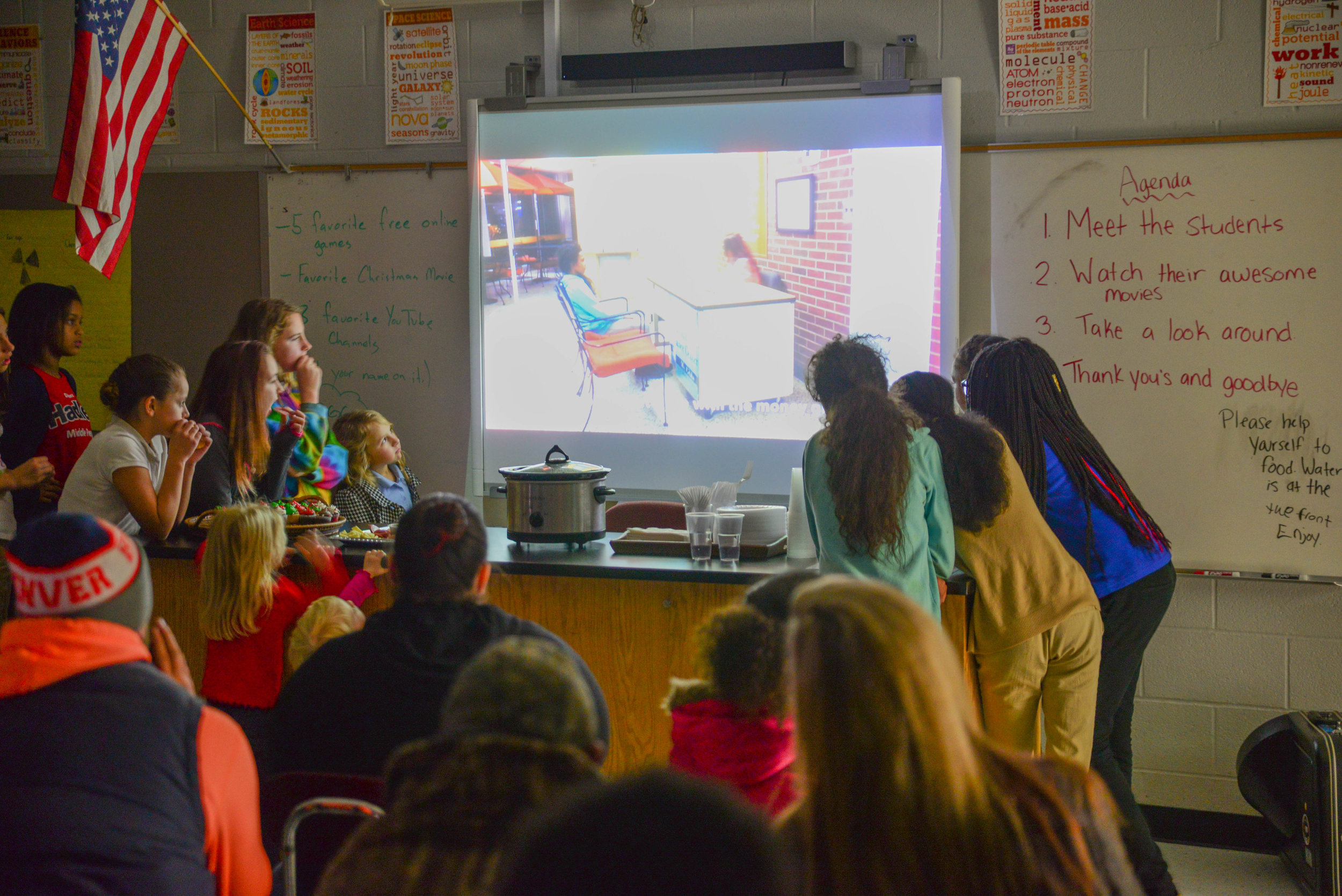 Our C.A.S.E. program continued at two sites, both serving students from Dupont-Hadley Middle Prep. At the end of the fall semester, students showCASE-d what they'd learned for their parents. At the Dupont-Hadley site, they premiered videos they wrote, directed and filmed together.
