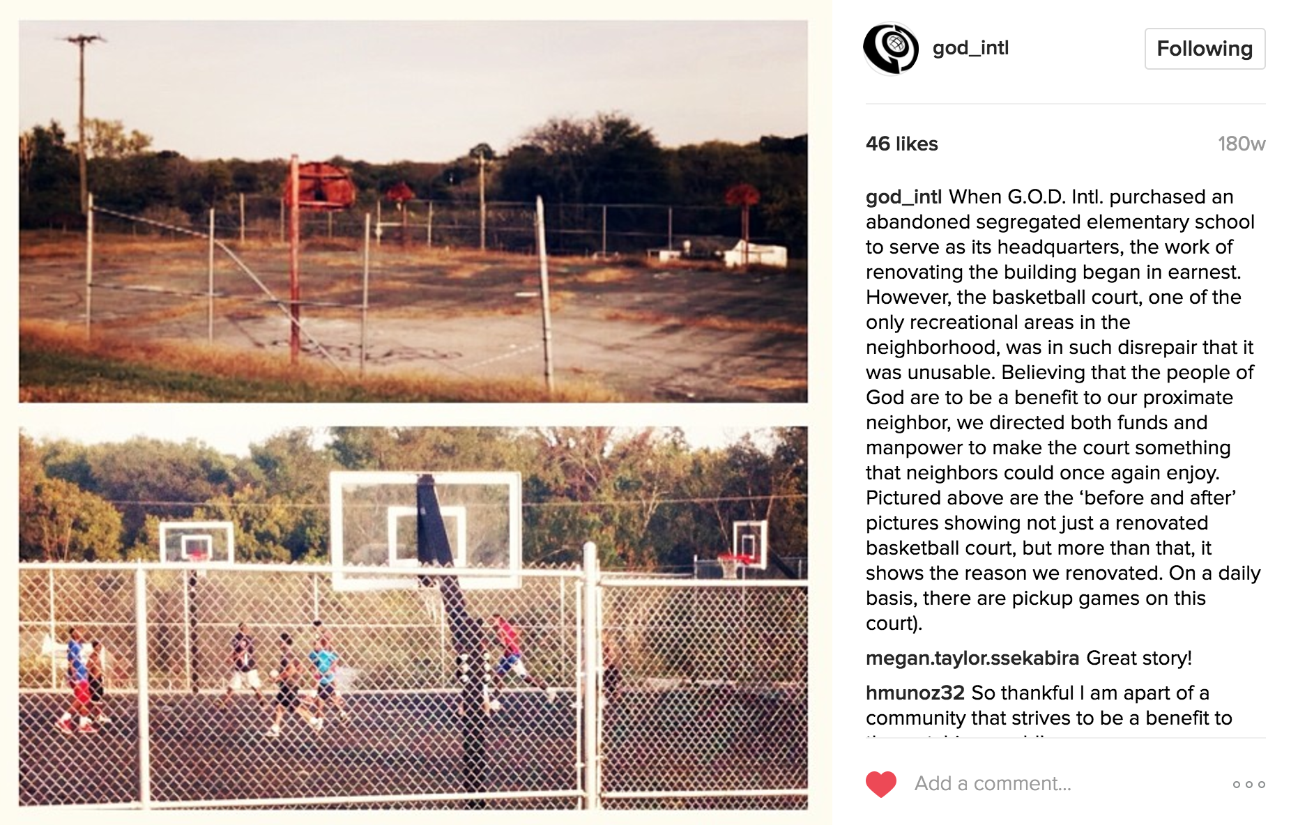 Flashback to one of our first few instagrams about the renovation of the basketball court, showing the before (top) and after (bottom) that occurred within a short period of time after we acquired our property in Hopewell.