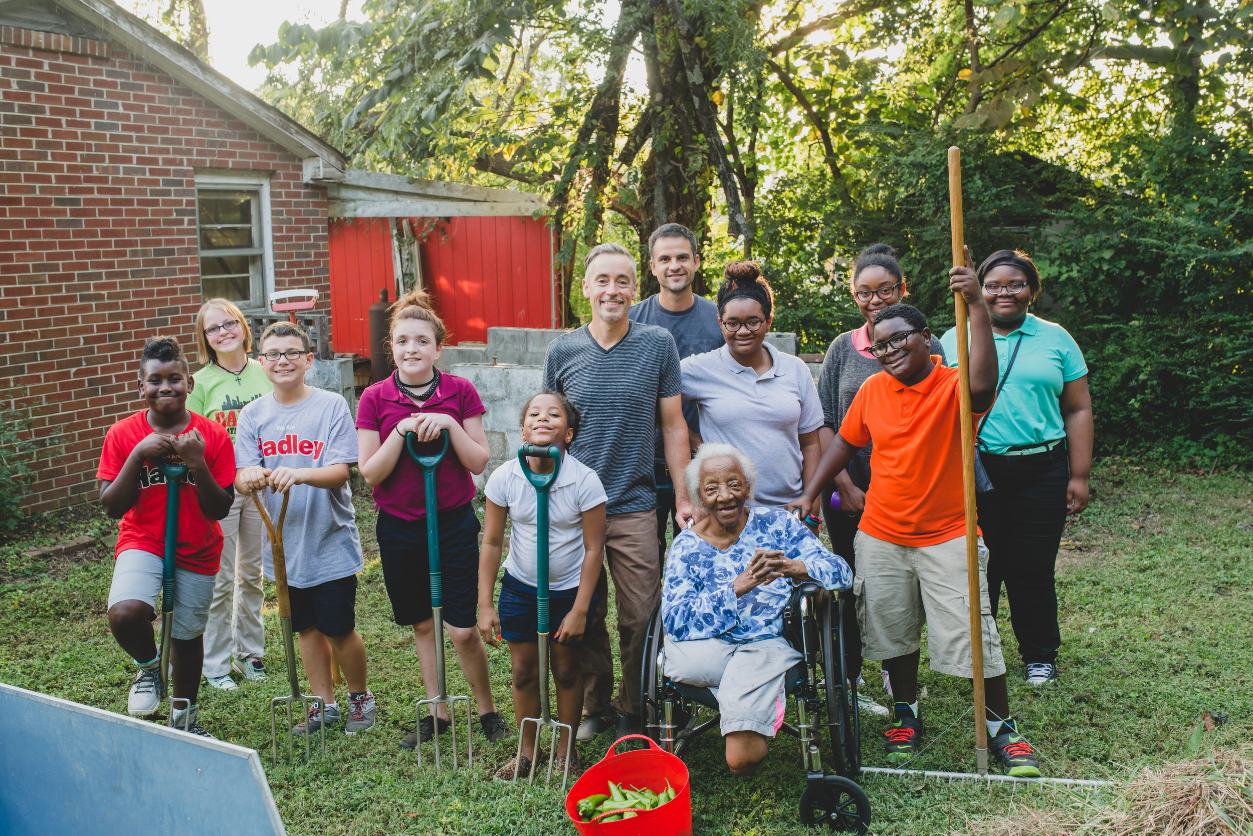 Students worked together to create a garden for Mrs. Palmer, an elderly widow in our neighborhood. Not only did students learn the processes of gardening, but they had the pleasure of seeing their harvest benefit another!