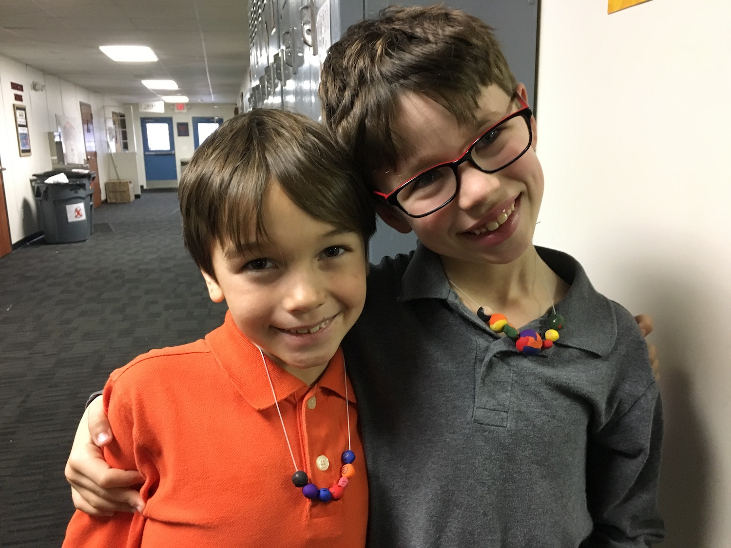 Stevie and Elijah sporting the handmade beads they created from clay in Accessorize class! Ms. Foster and I had fun working together in planning The Need for Beads (STEM class) and Accessorize. In The Need for Beads we worked on measuring string for bracelets and necklaces from the measurements last week. This gave students practice with working with inches and measuring with a tape measure. They also had to consider the extra materials needed for knots and space to get the jewelry off. These materials were then used to make the bracelets and necklaces in Accessorize class.