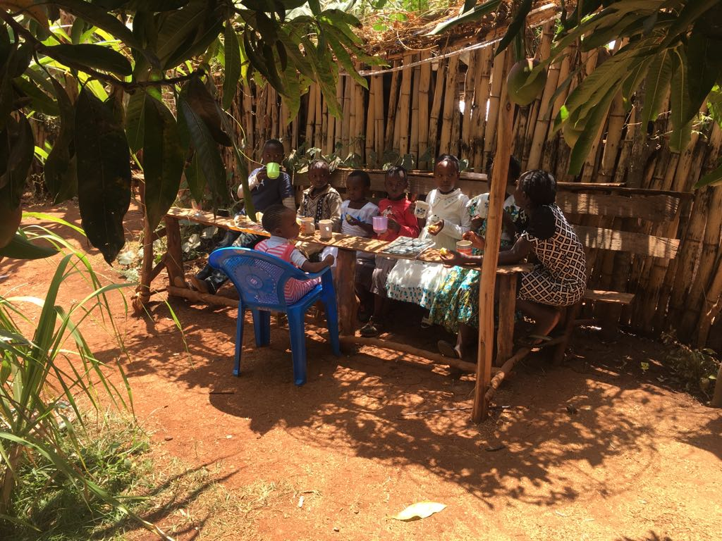 The children of the community gathering are also receiving weekly Bible lessons and gather for worship and a snack. Many of their parents work to produce food and have been able to keep it in steady supply for gatherings like this.