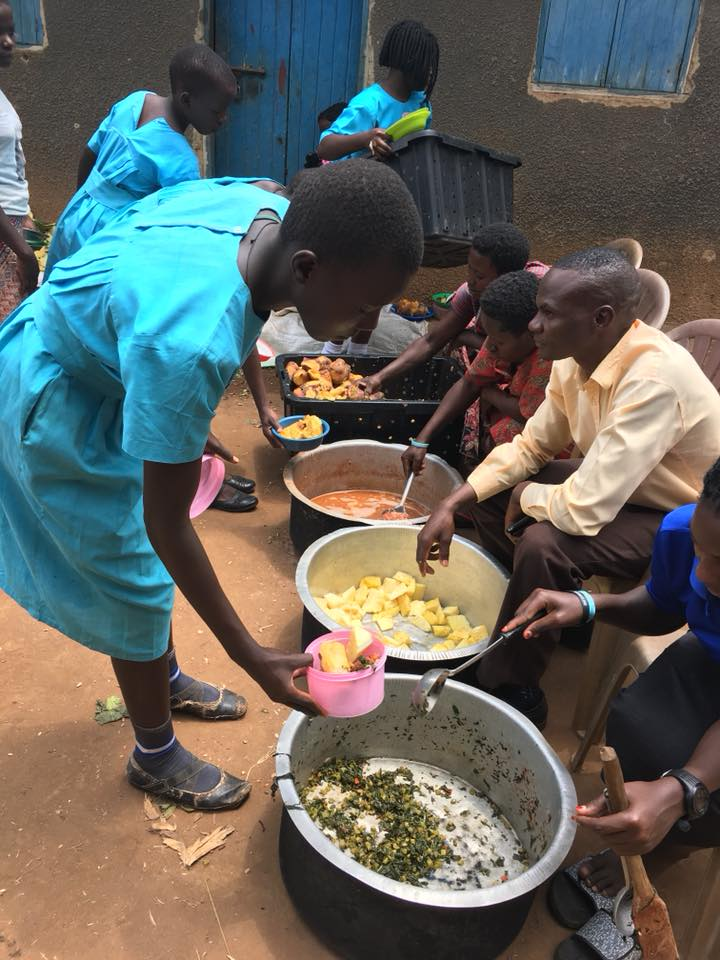With no additional helpers as some schools have, the teachers themselves serve lunch, and do so cheerfully!