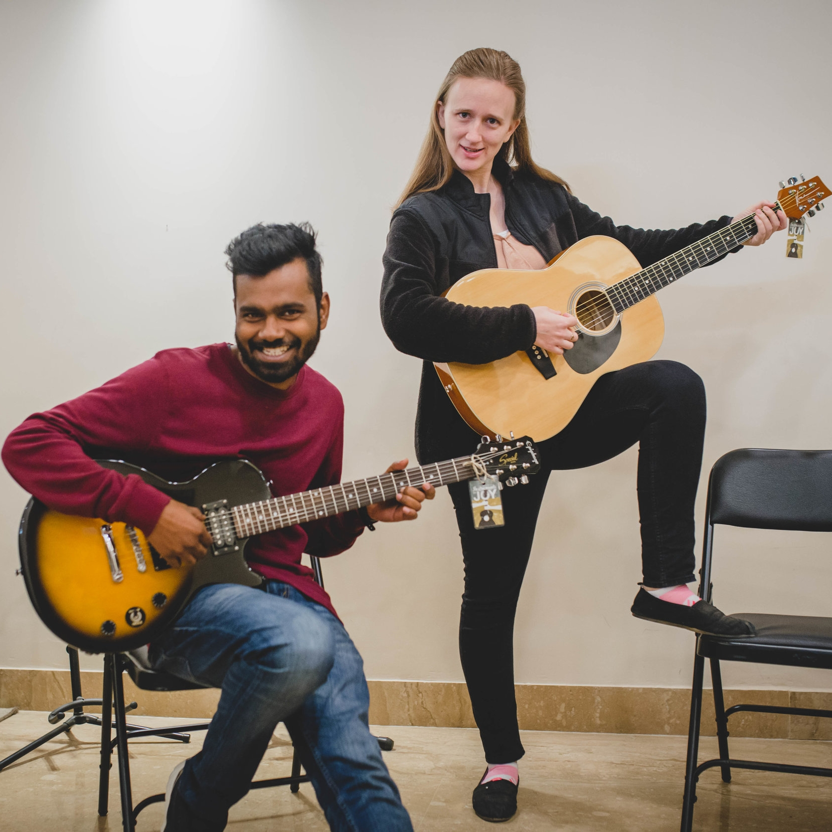 As you can see, music teachers Manohar Paul and Rachel Nowlin bring both their talent and their humor into teaching the class.