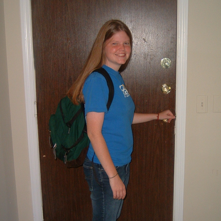 Brynn on her first day at the Institute for G.O.D. in 2005 at 18 years old.