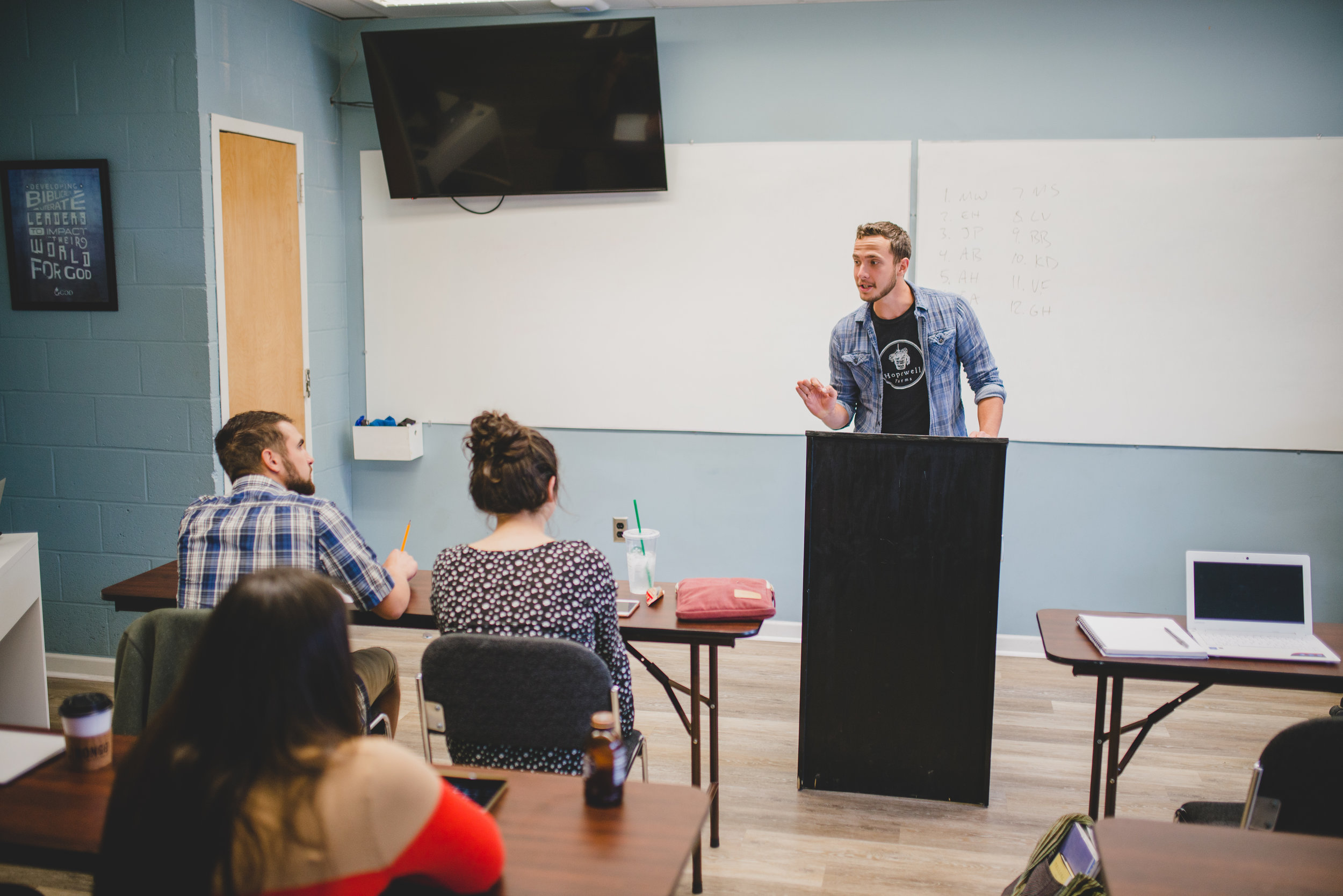 Ethan Harris preaches during his Principles of Preaching class, a class that challenges students to articulate and appropriate the biblical passages they have learned.