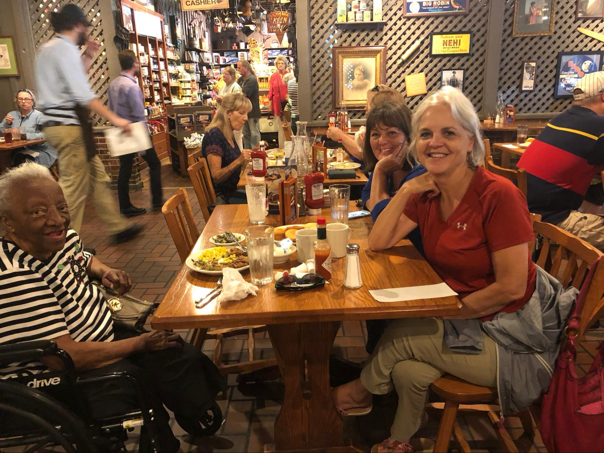 """""""So many times I have been impacted by serving widows, but when one of the widows was having a hard time at home, Denise, Rosemary Sherrod and I took her to Cracker Barrel. Afterwards, I visited and asked her if she enjoyed our time out. She was glowing and so happy from the love she received. Moments like this make me smile and I know makes the Lord smile too."""" (Caption by Kara Hadley, right in bottom photo)"""