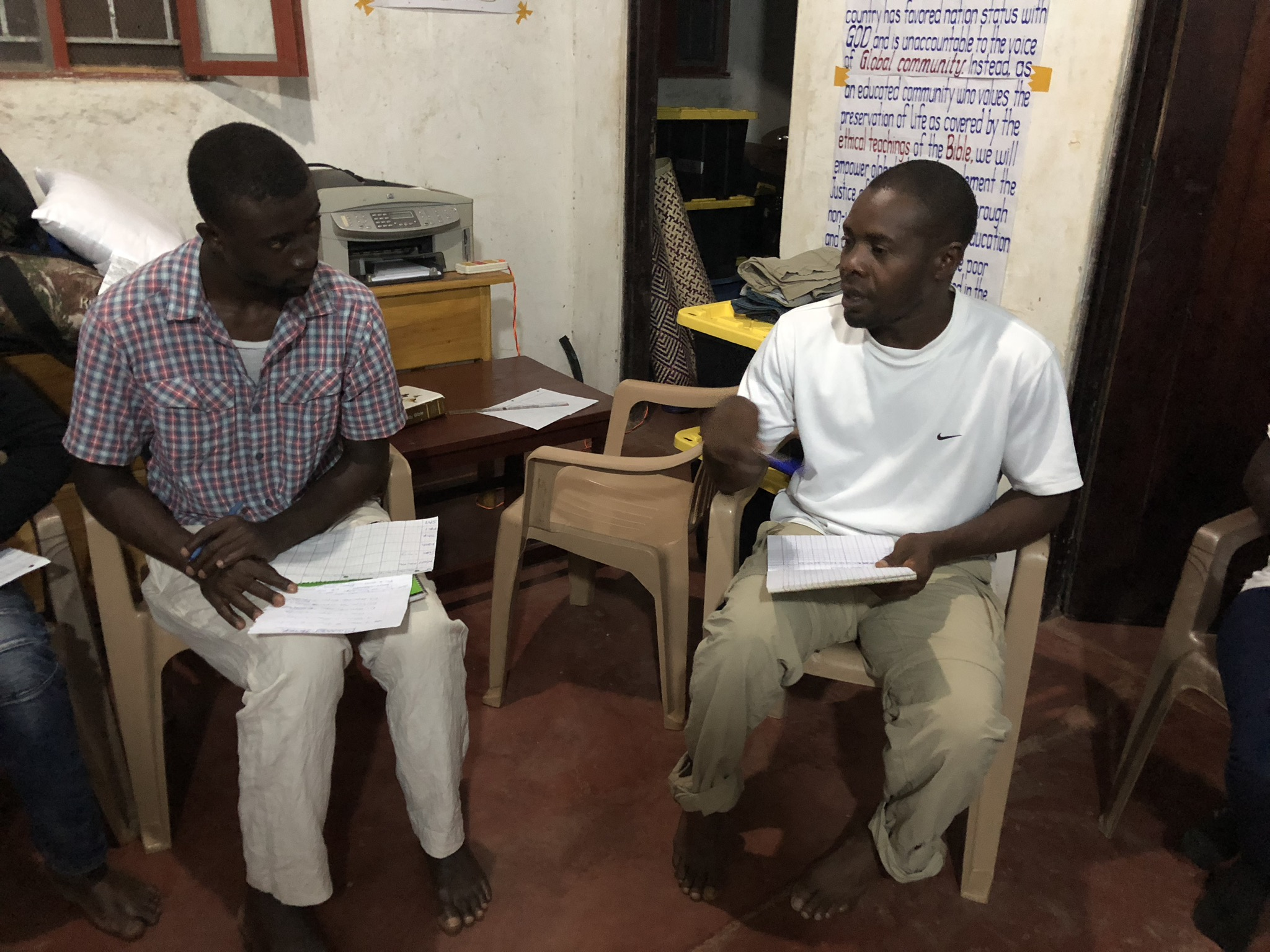 Students are also encouraged to pick a specialty arena of service, where they can gain competency in a field desperately needed in their world.  Francis Lubega (right) welcomes the help Peter Musazi (student, left) in the realm of sustainable food production.