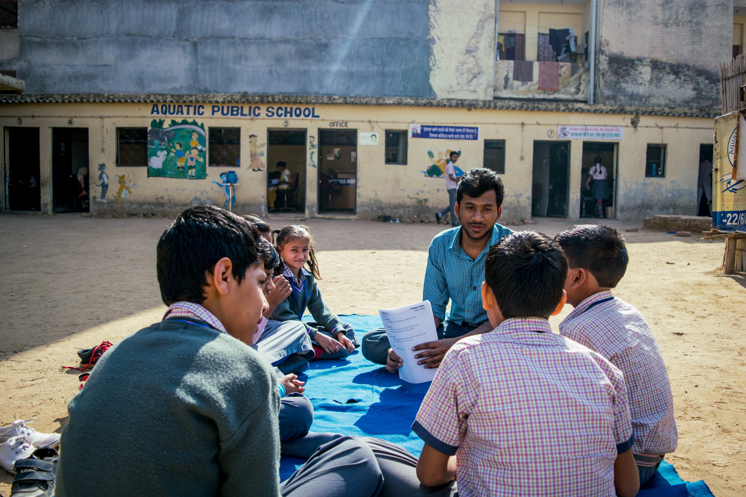 Our volunteer, Samuel, works with students at Aquatic Public School to improve their English comprehension. English is the language of business and commerce in India, making it a vital skill for young people to learn.