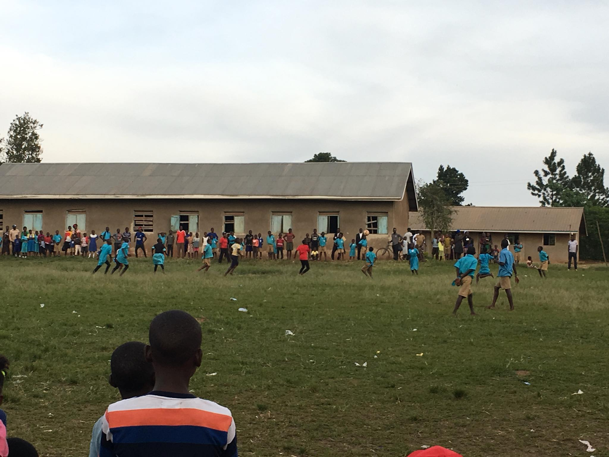 In the boy vs. girl soccer match, the boys had to play with their arms tied behind their backs. The game was a draw!