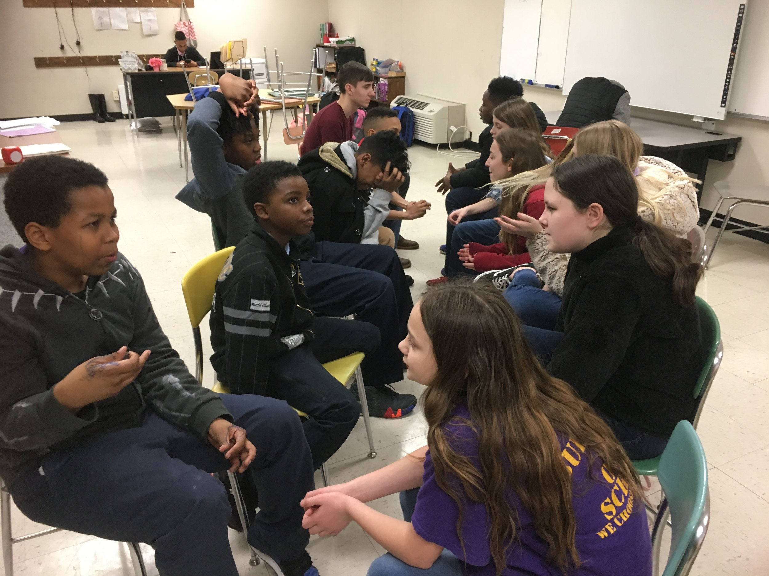 """""""Speed Conversations"""" was a game they played and had to hold a conversation by making eye contact and asking good questions based on a prompt given."""
