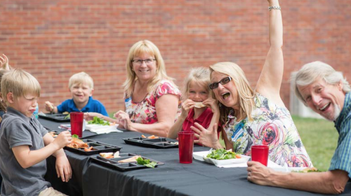 Vern and Kyme Aaseby, far right, with their grandchildren at the Academy for G.O.D. Grandparents Day, 2016.