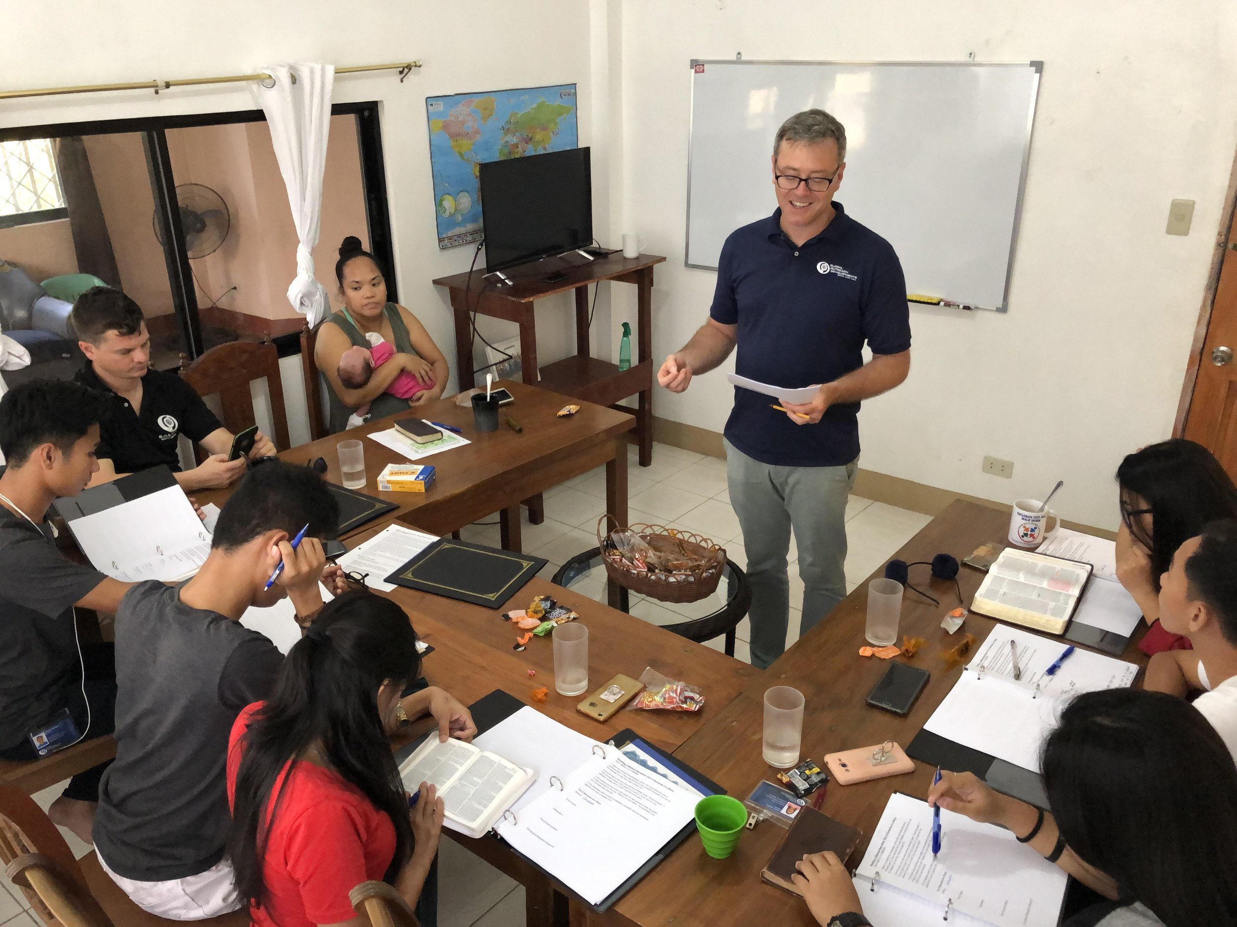Shaun Galford teaches inductive bible study methods to our SEA interns as part of the internship's Bible education curriculum. Equipping the interns with these tools to study the Word was a major component of the recent delegation trip.