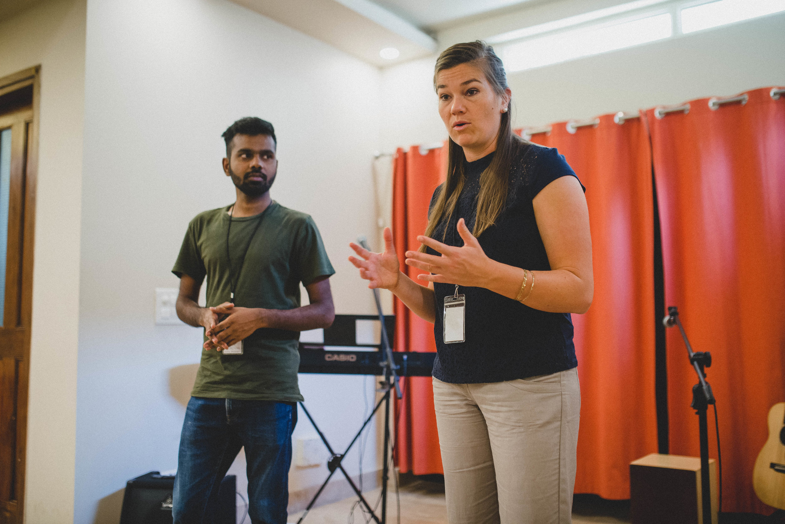 Rebekah Davis taught on the book of Genesis and Manohar Paul translated. Participants were challenged to recognize God's intention for humanity and how he wants us to live in the world.