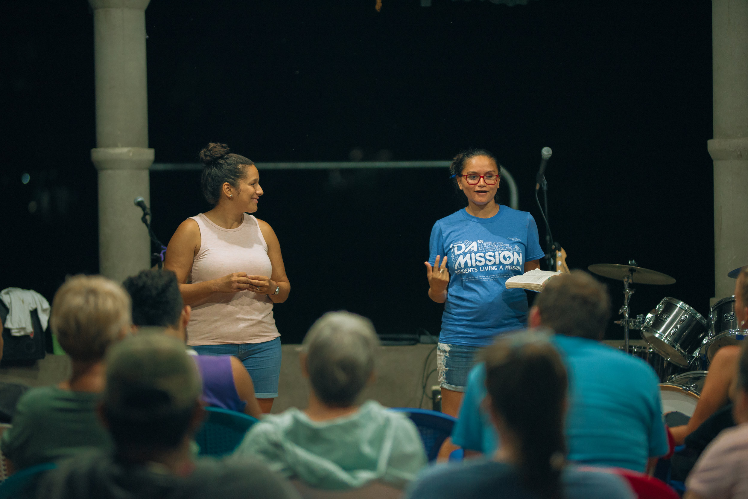 Back at campus, Lorena (R) translated by team member Ninfa Parker (L) shares the story of how she came to work with GOD Int'l. She testifies of  her search to deeply study God's word that led her to us.