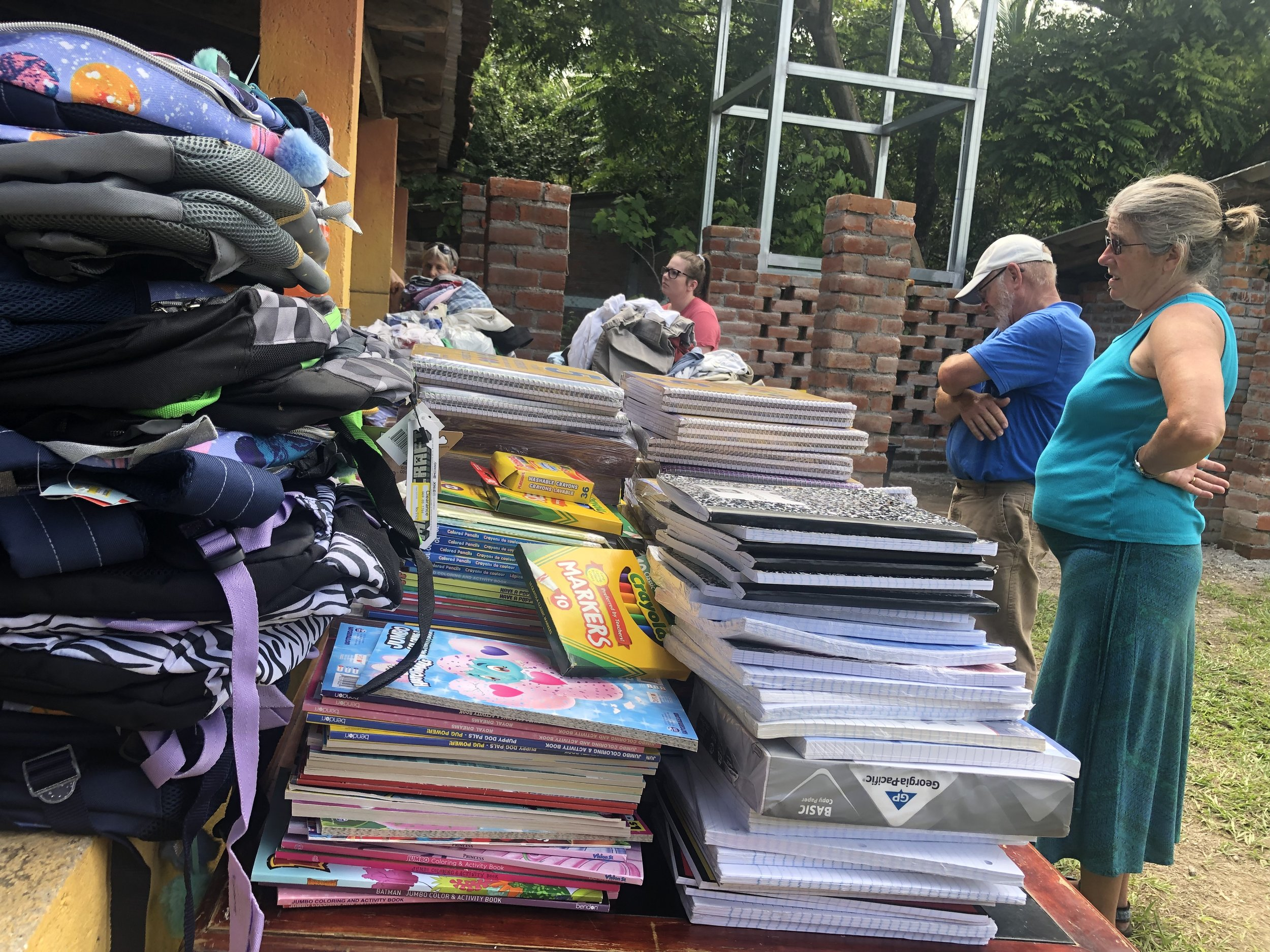 A large portion of the donations the friends and family visitors brought were school supplies! After sorting through them we took them to the school the next day.