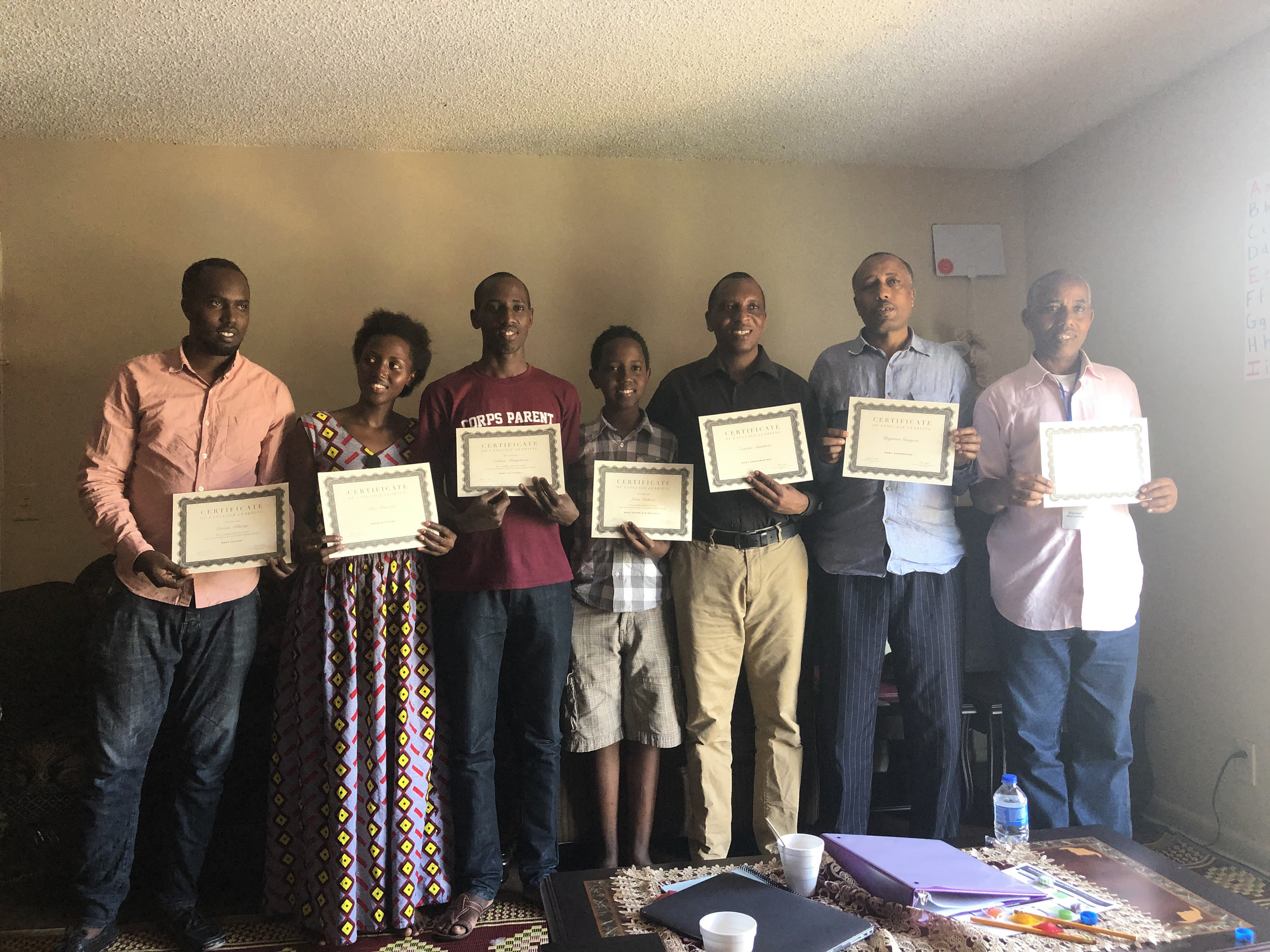 Our refugee friends who have completed two seven-week cycles of English Language Learning. These classes are vital to their integration into our society and we are so happy to provide the service to our neighbors.