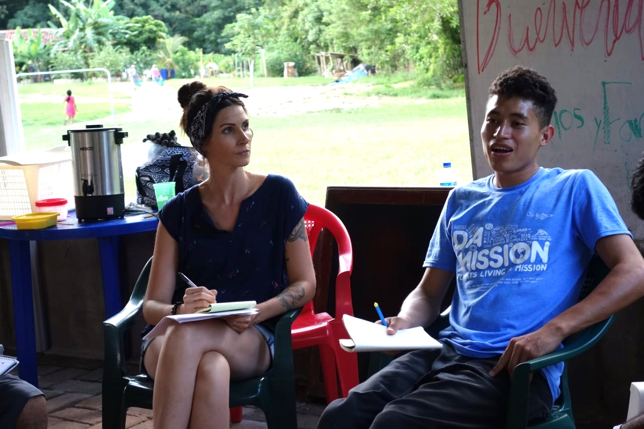 Health can mean different things to different people, especially in different cultures. Before any teaching began, Vanessa (L) and Julie asked questions--questions that would help get everyone on the same page about health and share an understanding of what health entails and why it is important to maintain.