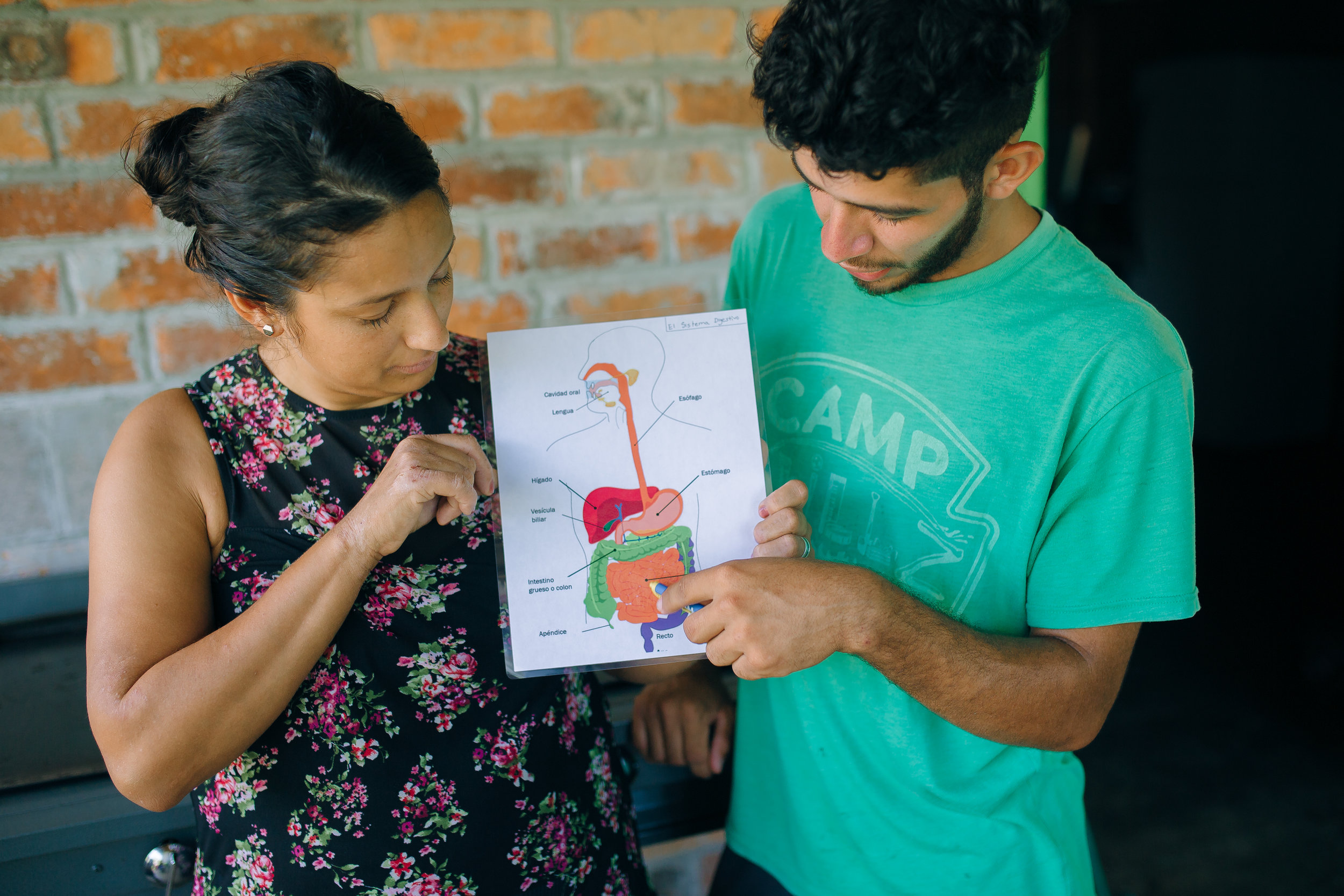 Anatomy made its way into the seminar, how could it not? Knowing how food affects your body is a crucial point in connecting nutrition to gut health. Amilcar (R) was asked to demonstrate what he had learned about the digestive system while Ninfa (L) translated.