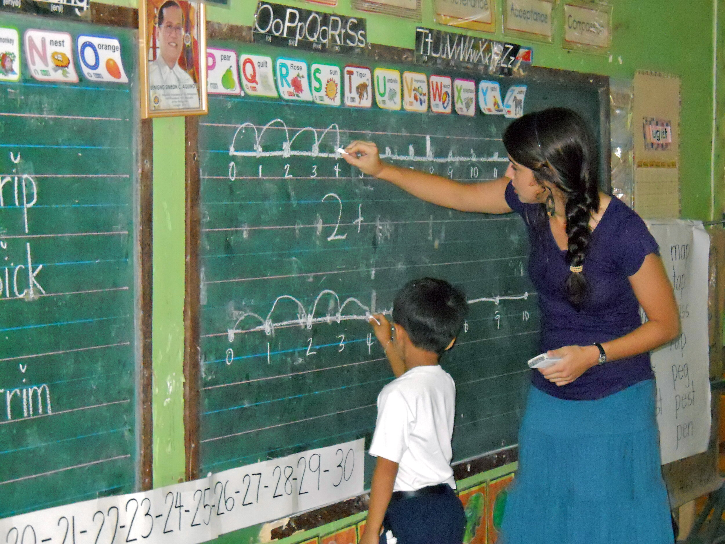 Alison teaches math in a rural classroom of 30 kindergarten students in Sariaya. Quezon in 2011.