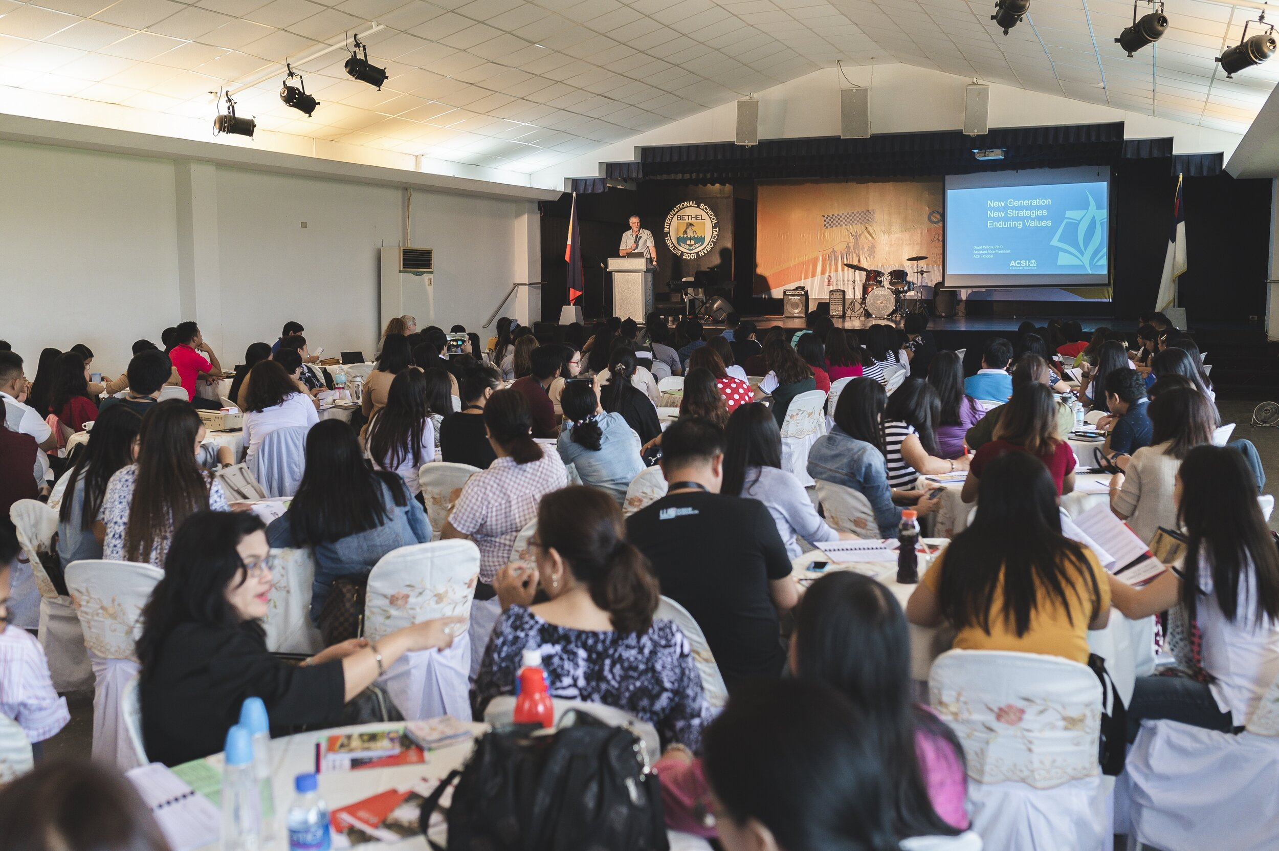 Dr. David Wilcox speaks to hundreds of Filipino educators and school leaders on the current generation and the enduring values that should be present in Christian education curriculum.