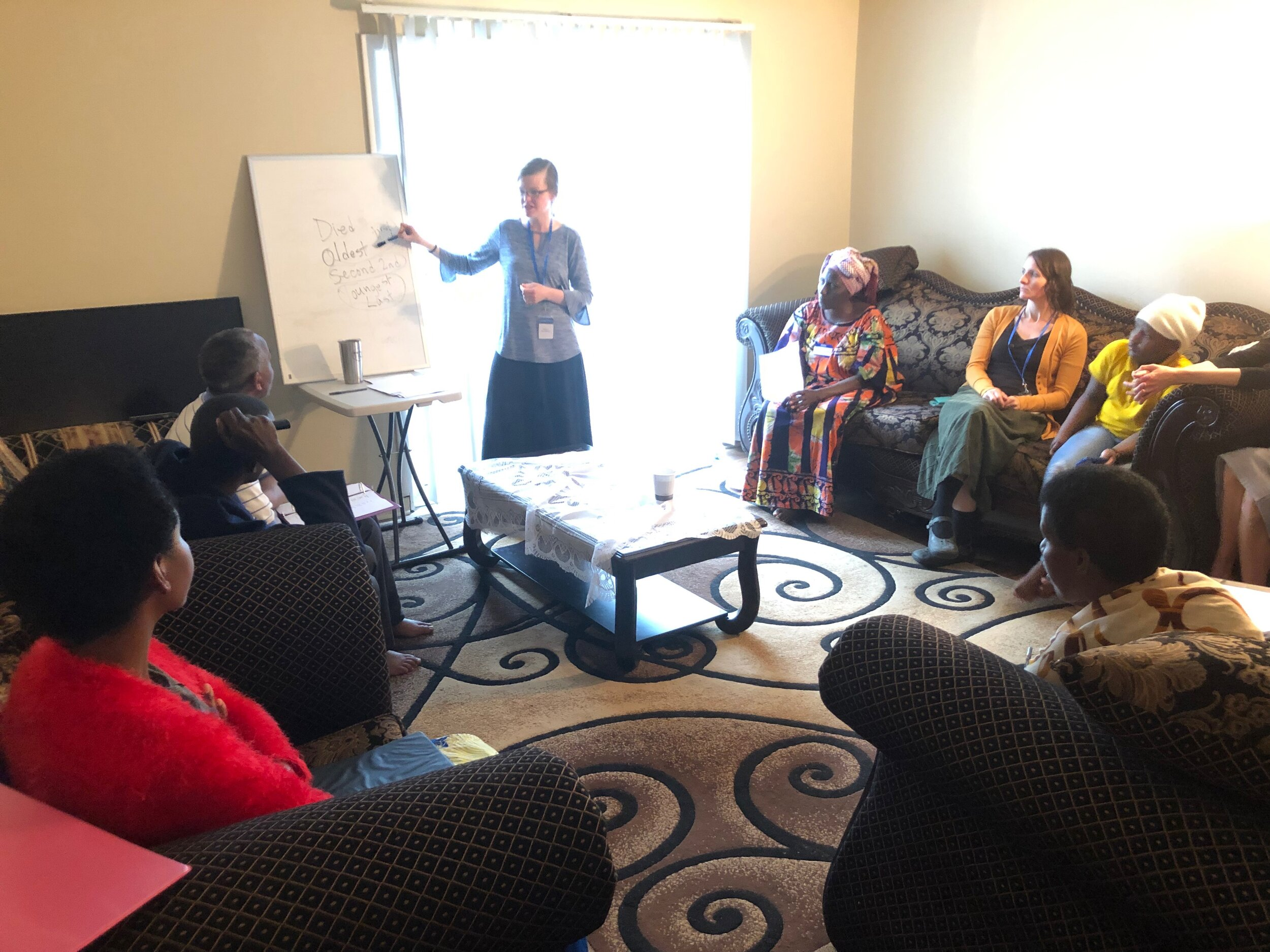 This ELL group helps refugees from the Congo. Together they're learning English as well as basic medical terminology, spelling their names with the English alphabet, considerations regarding grocery shopping and cooking in a new environment, and even financial concerns.