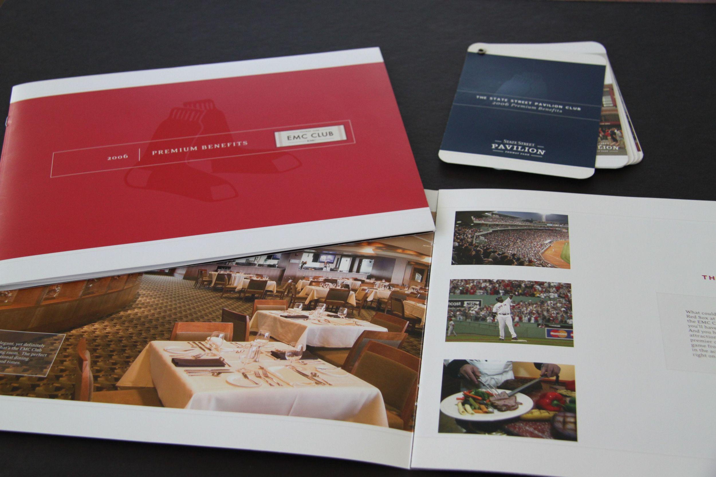 Boston Red Sox EMC Club and Pavillion Club Level Benefits Brochures