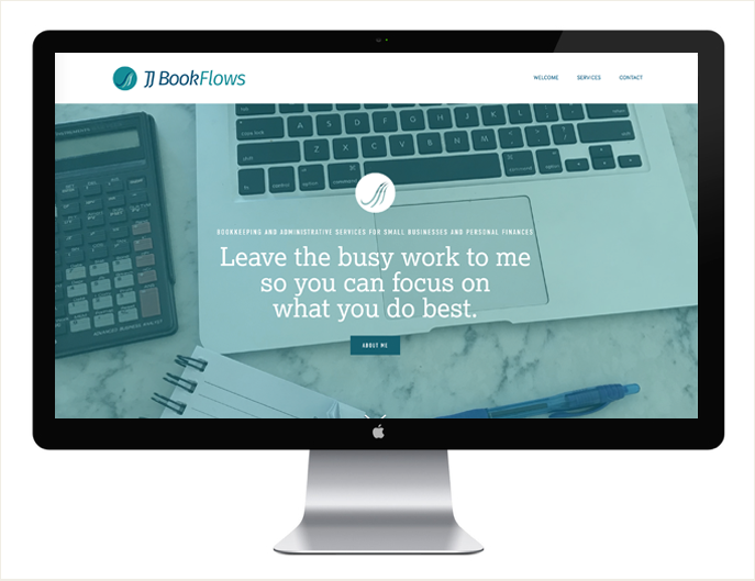 - We designed this logo and website for JJ BookFlows: