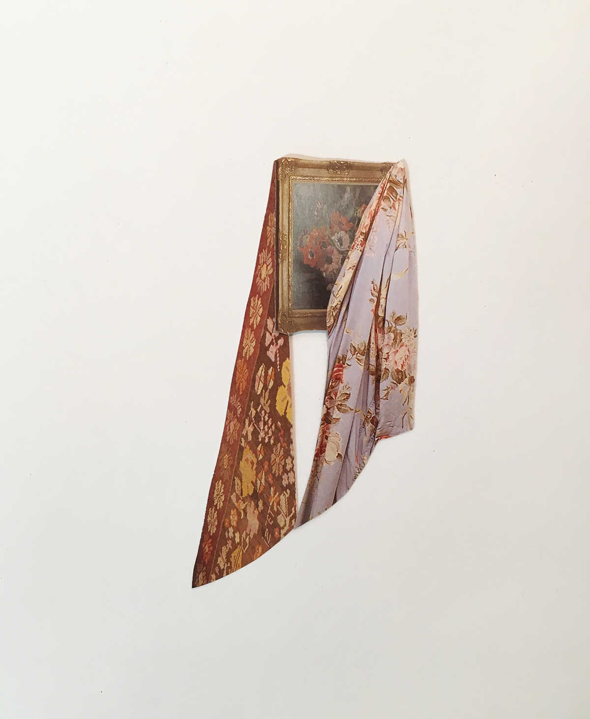 """flâneur,  paper collage, 11"""" x 9"""", 2018"""