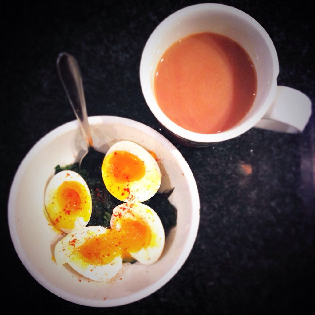 Soft-boiled eggs and steamed spinach with salt and paprika and a cup of tea.