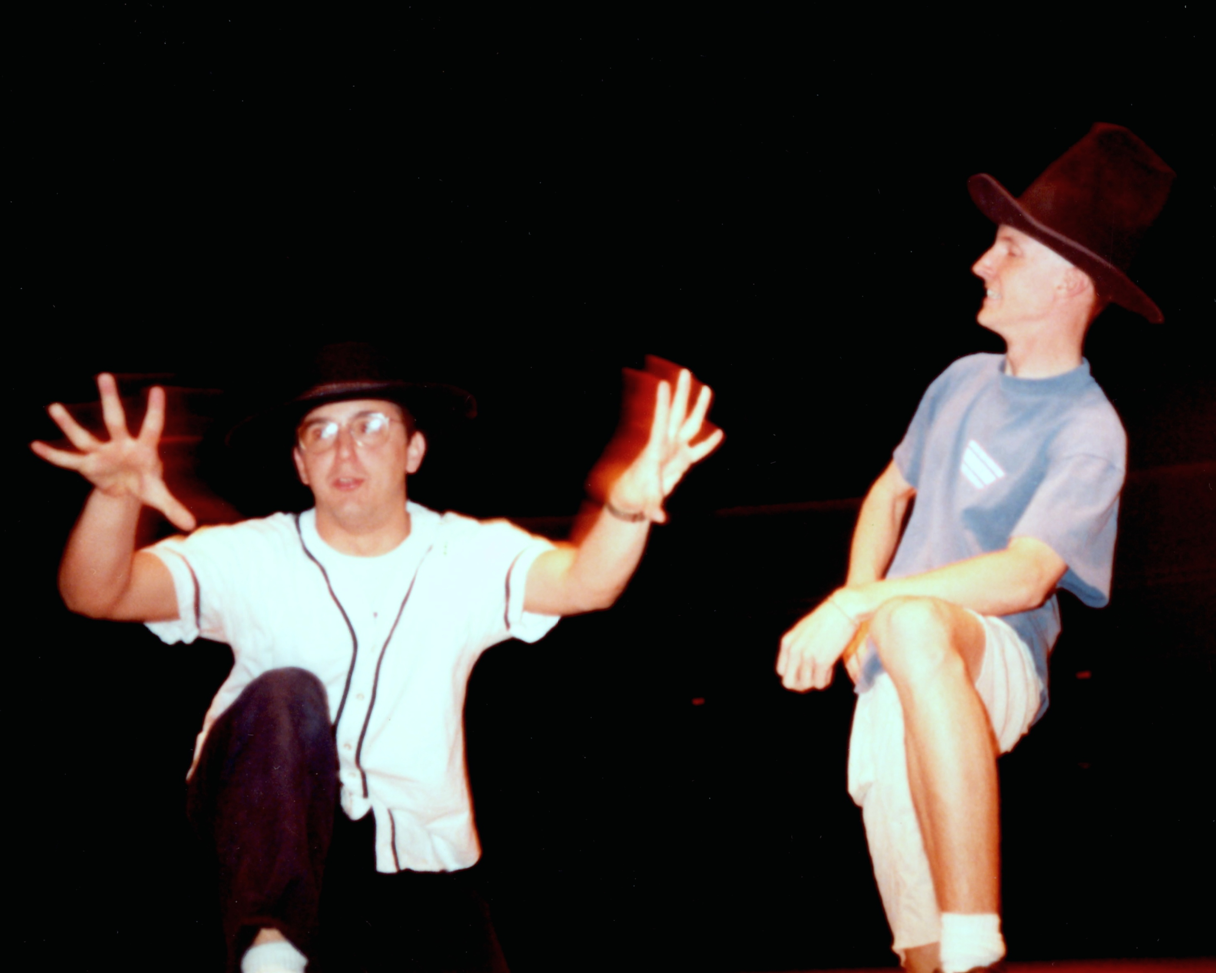 """Chris and Mark rehearse """"Cheever's Bench,"""" May 1992."""