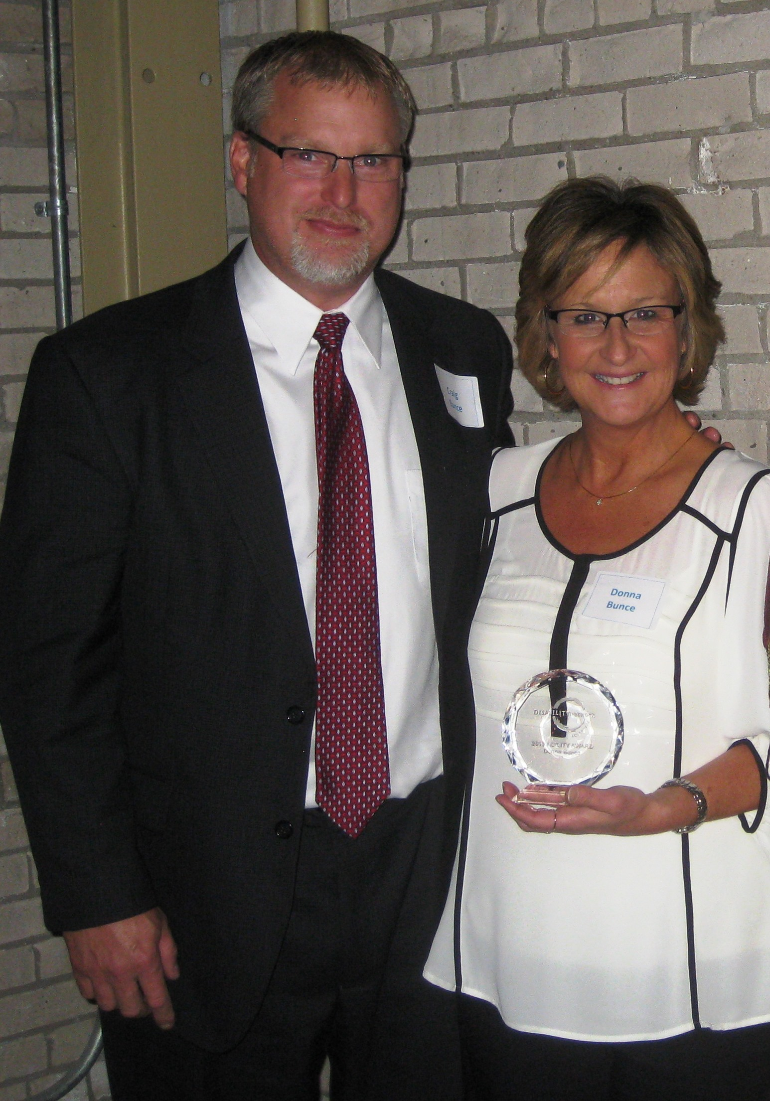 Donna, with her husband Craig, at the Ability Award Ceremony.