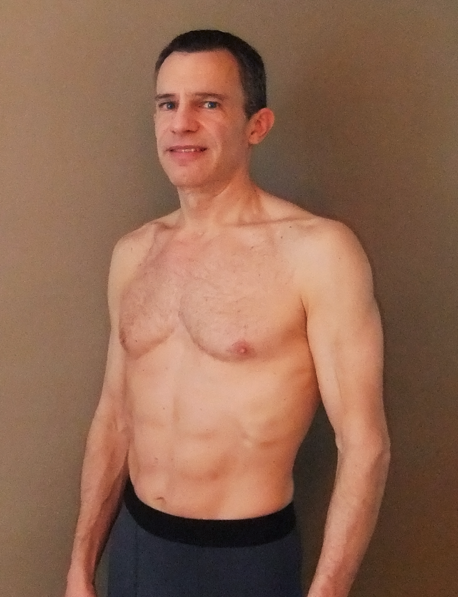 My self-conscious self, 2-3 pounds above trail-running weight. March 24, 20013.