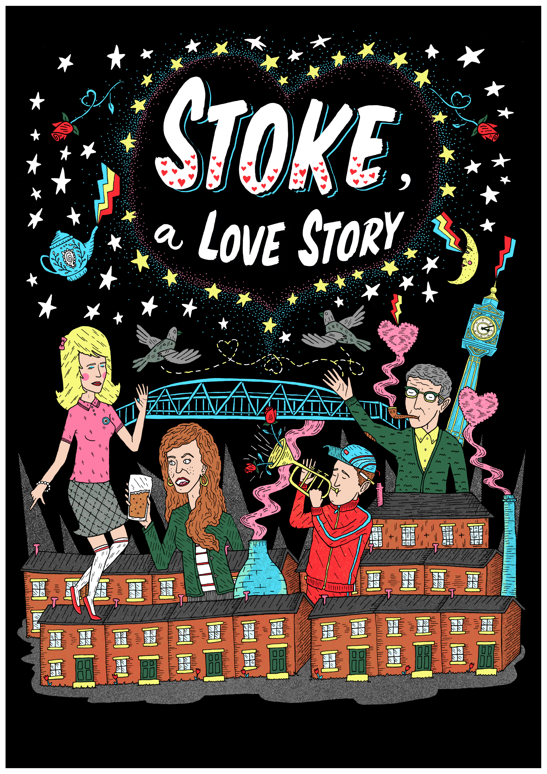 Poster for a play called  Stoke, a Love Story