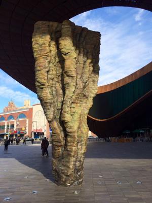 Ursula von Rydingsvard's cast bronze piece at the Barclays Center. Slam dunk, Ursula!
