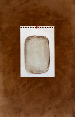 """today's sketch: being present while making a mark. 9""""x14""""x2 3/8"""". gouache, paper, velveteen, pin"""