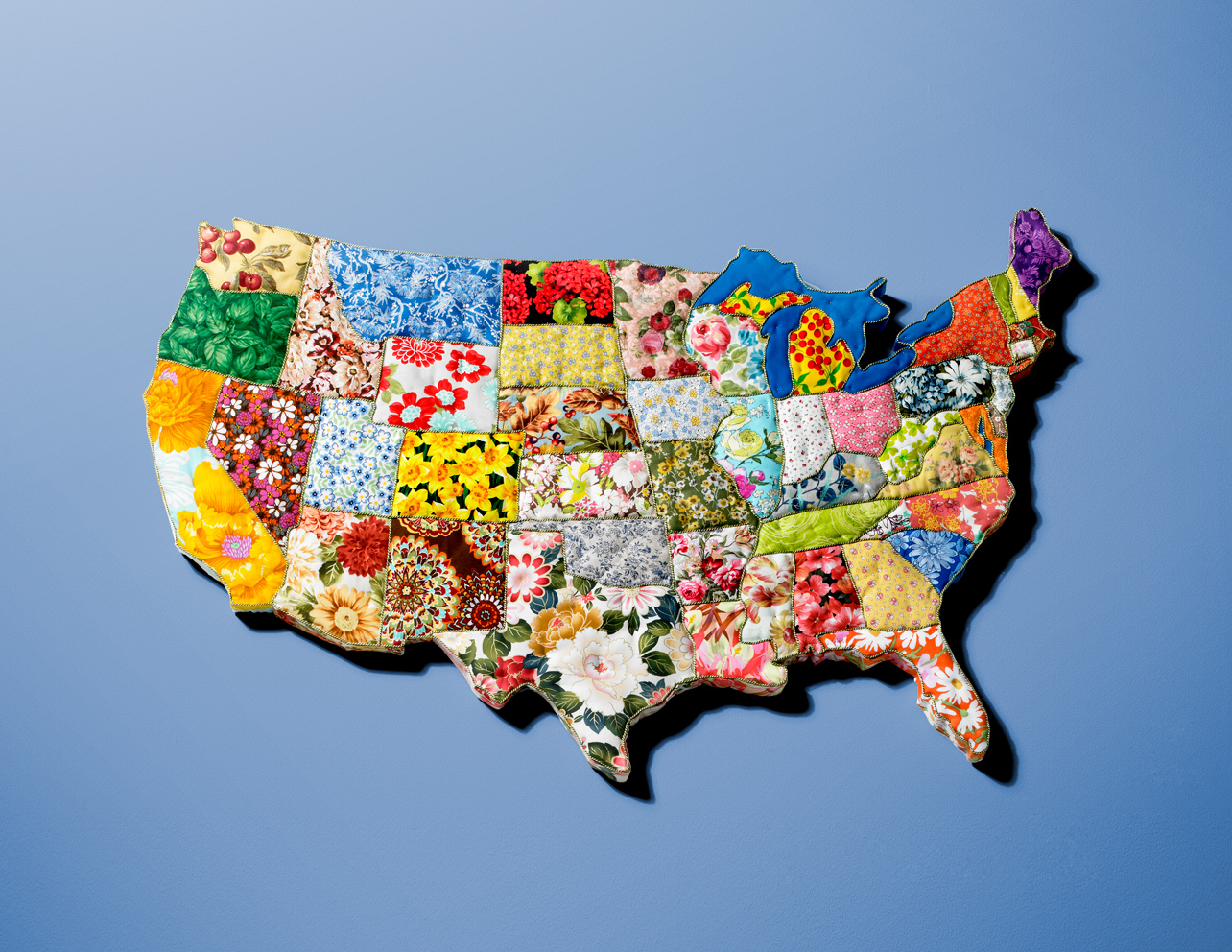 "Flower Power, 2014. 48"" x 36"" x 2 1/4"". Fabric on board. Photo: David Arky"