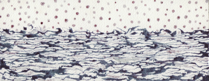"""Horizon line; East river."" custom-made blueberry inks with quill pen on Arches watercolor block. 4"" x 9"", 2014."