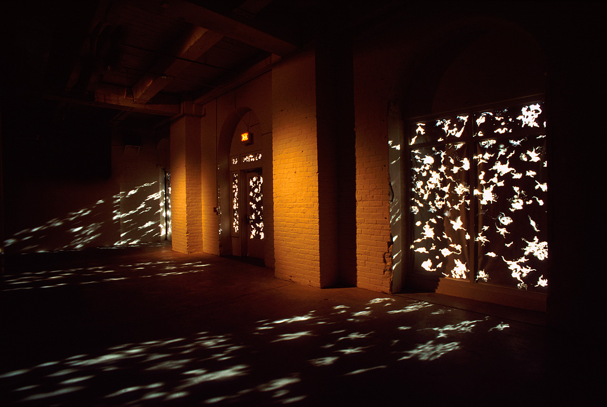 """""""My Observable Universe in the year, 2000.""""silver paper with kraft backing, pinholes,natural daylight. Gallery window dimensions: 7'h x 6'w x each."""