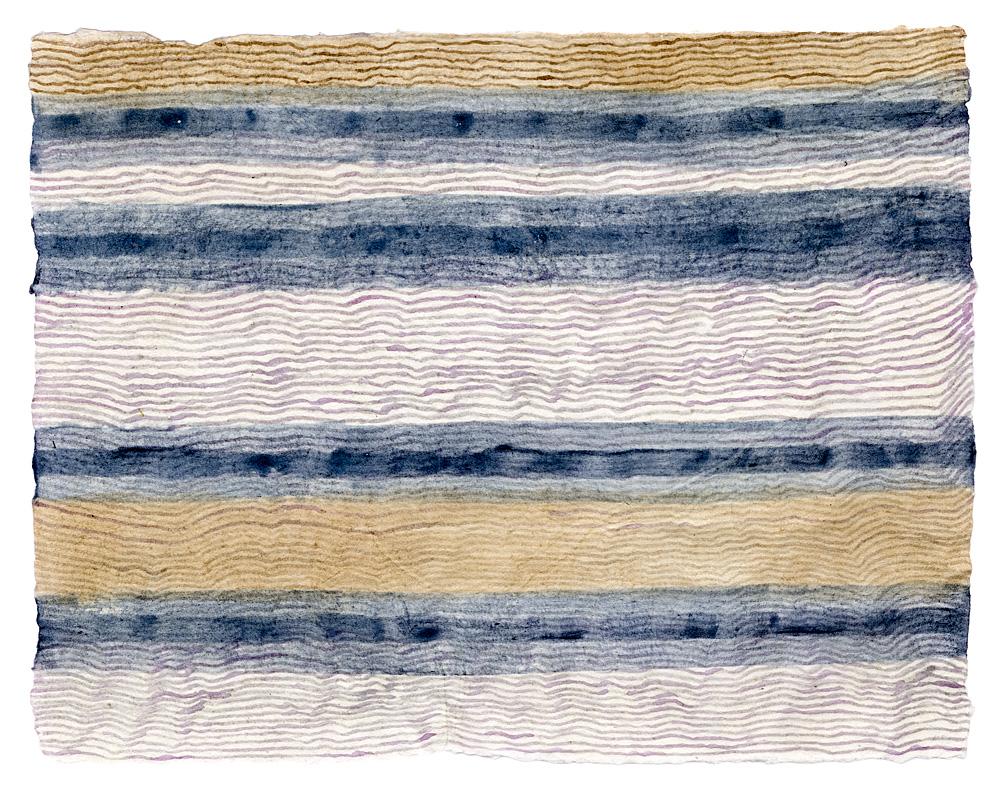 """""""Untitled Stripes."""" Indigo, blueberry & walnut inks on paper. 8.5""""h x 11.5""""w. 2015"""